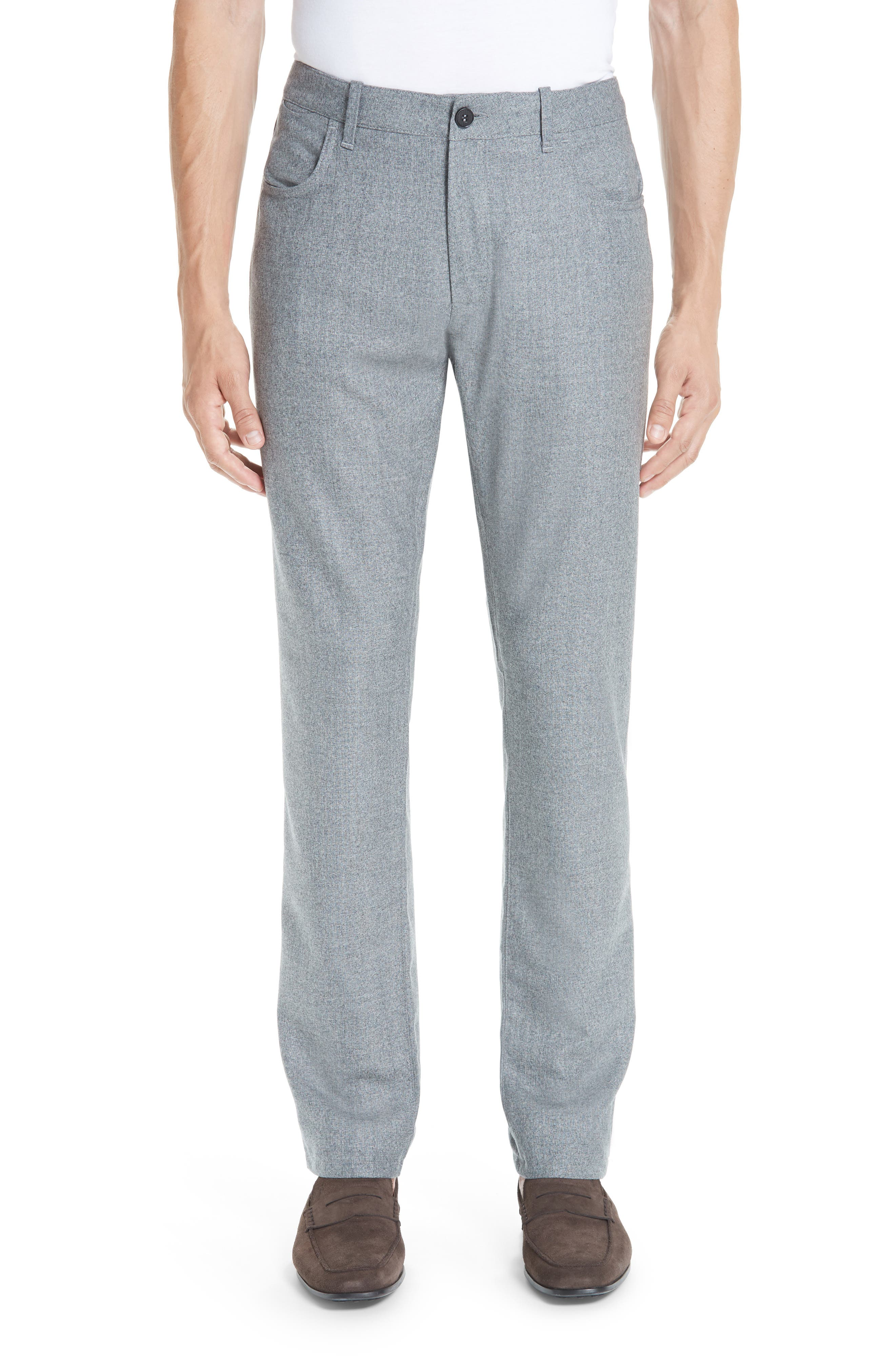 Flat Front Flannel Wool Five-Pocket Trousers,                         Main,                         color, LIGHT GREY