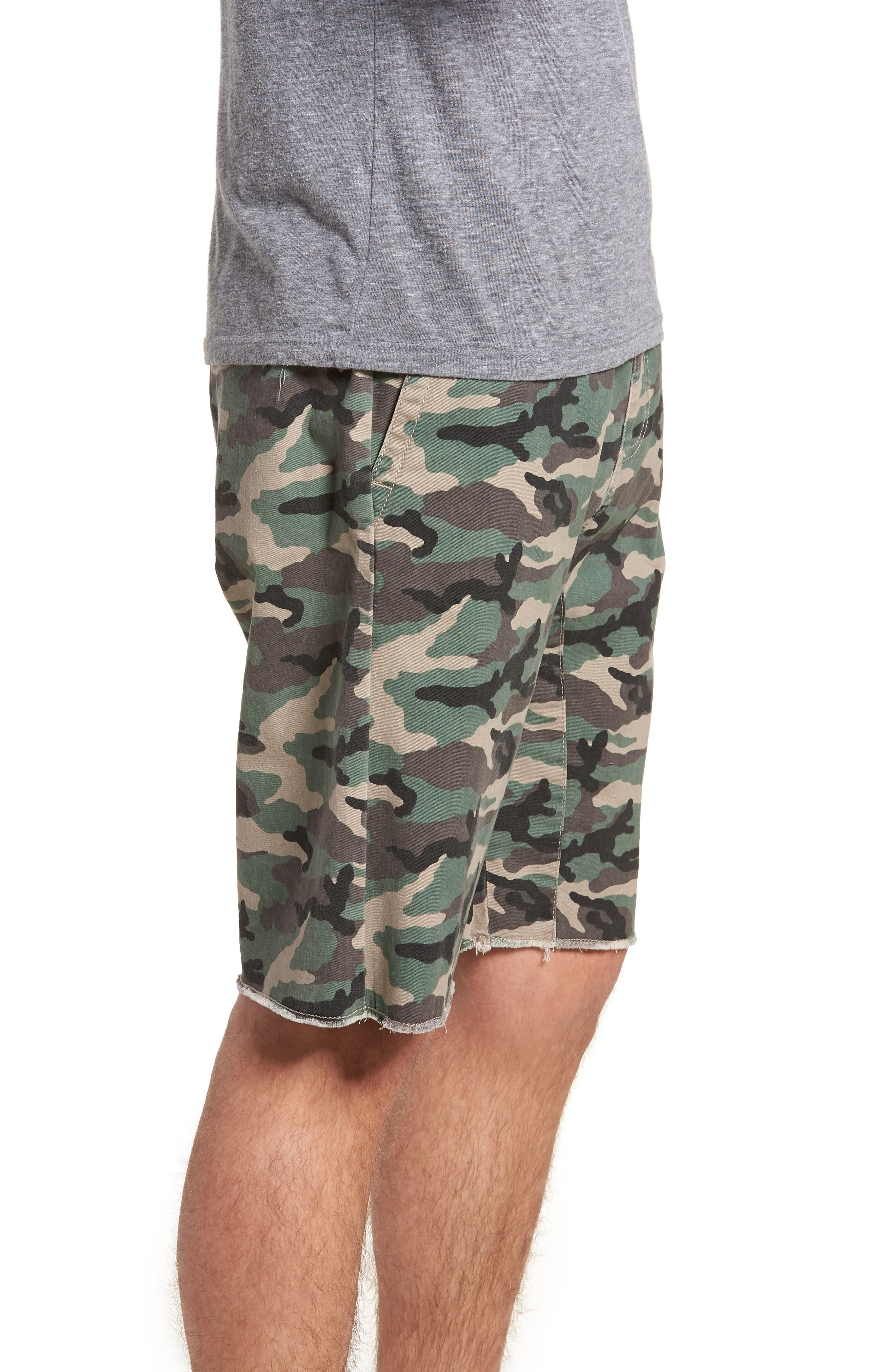 Camo Print Cutoff Twill Shorts,                             Alternate thumbnail 3, color,                             210