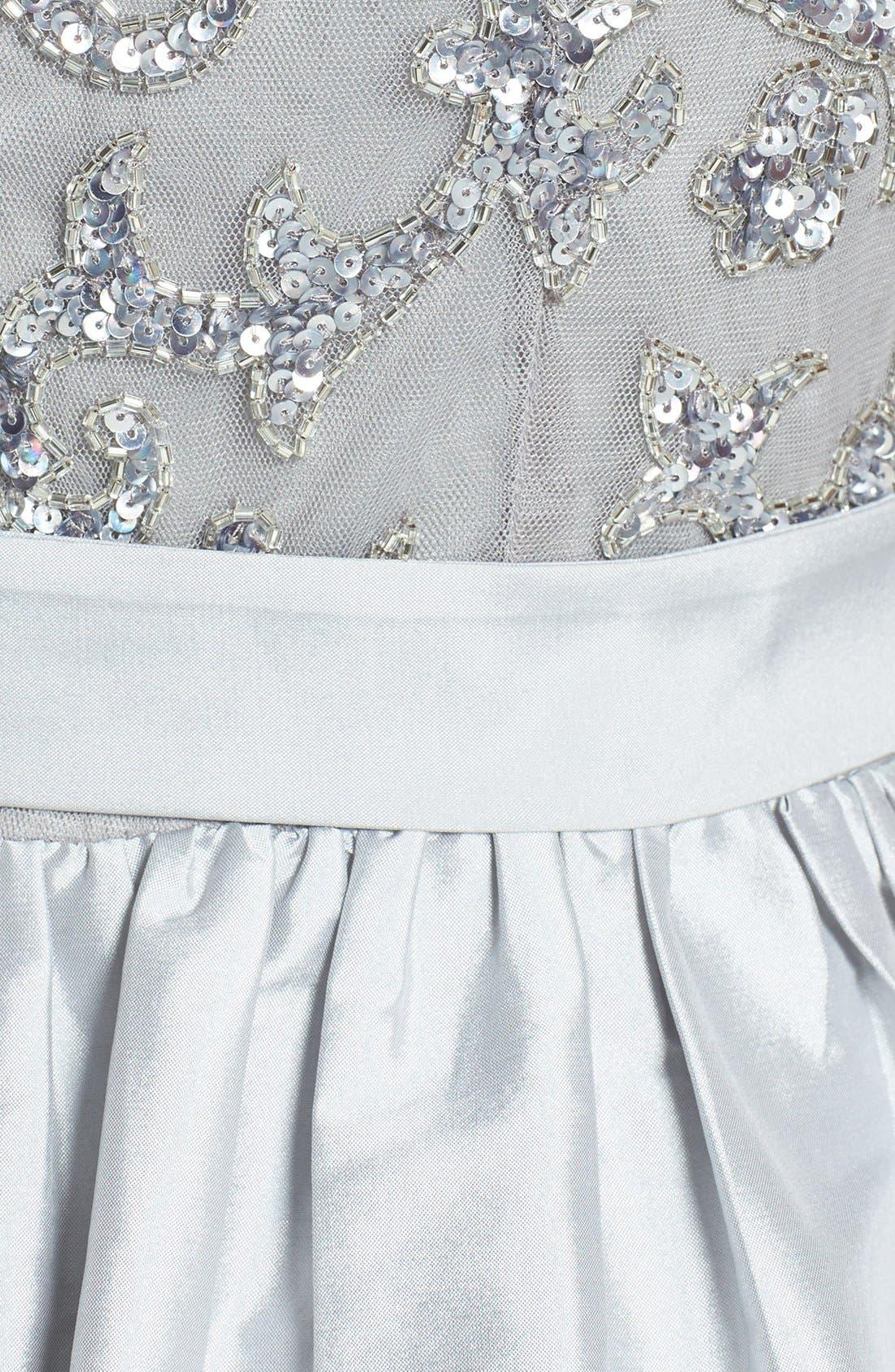 Embellished Bodice Taffeta Fit & Flare Dress,                             Alternate thumbnail 4, color,                             040