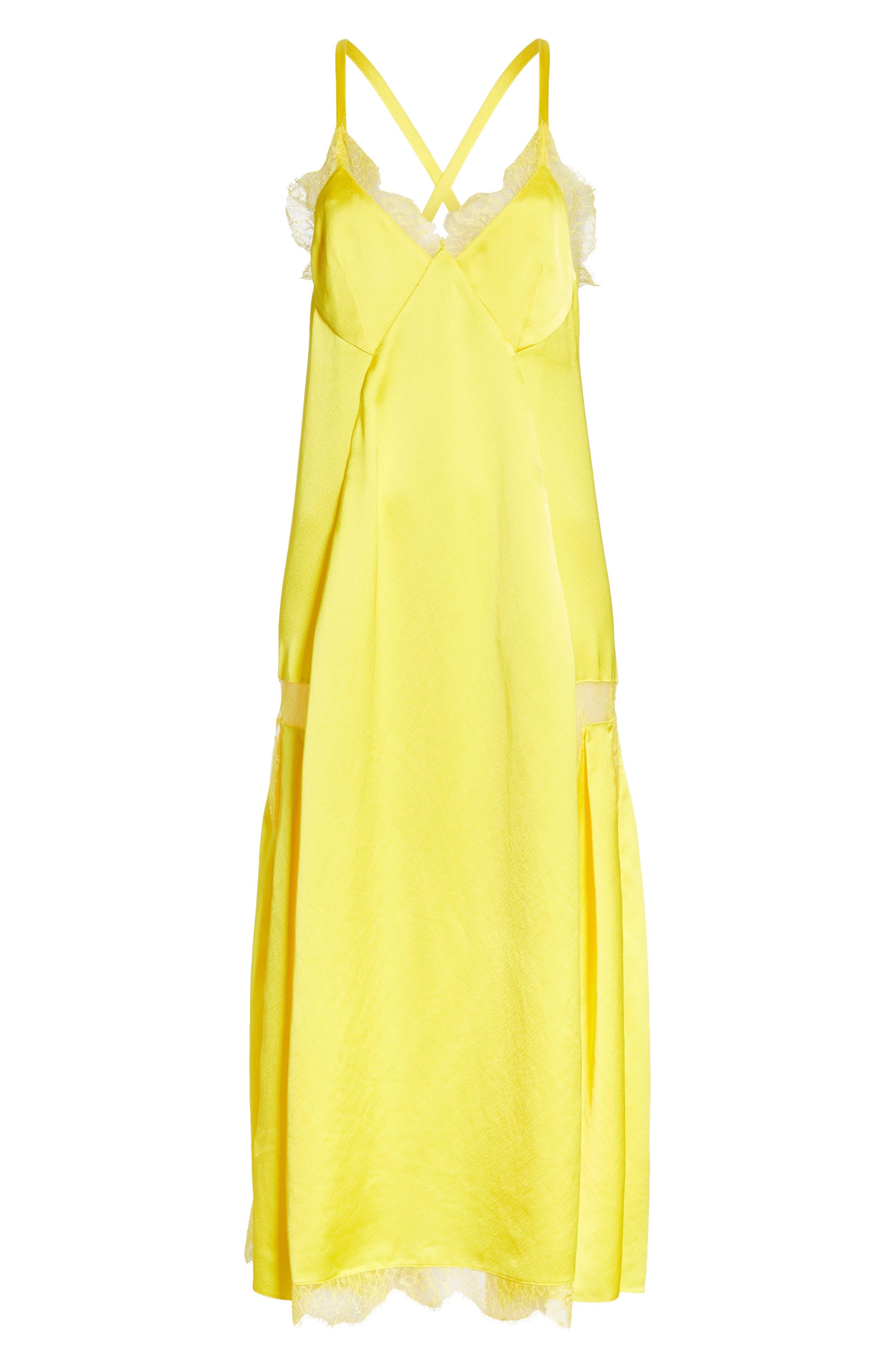 Elsa Slip Dress,                             Alternate thumbnail 6, color,                             YELLOW NO COLOR
