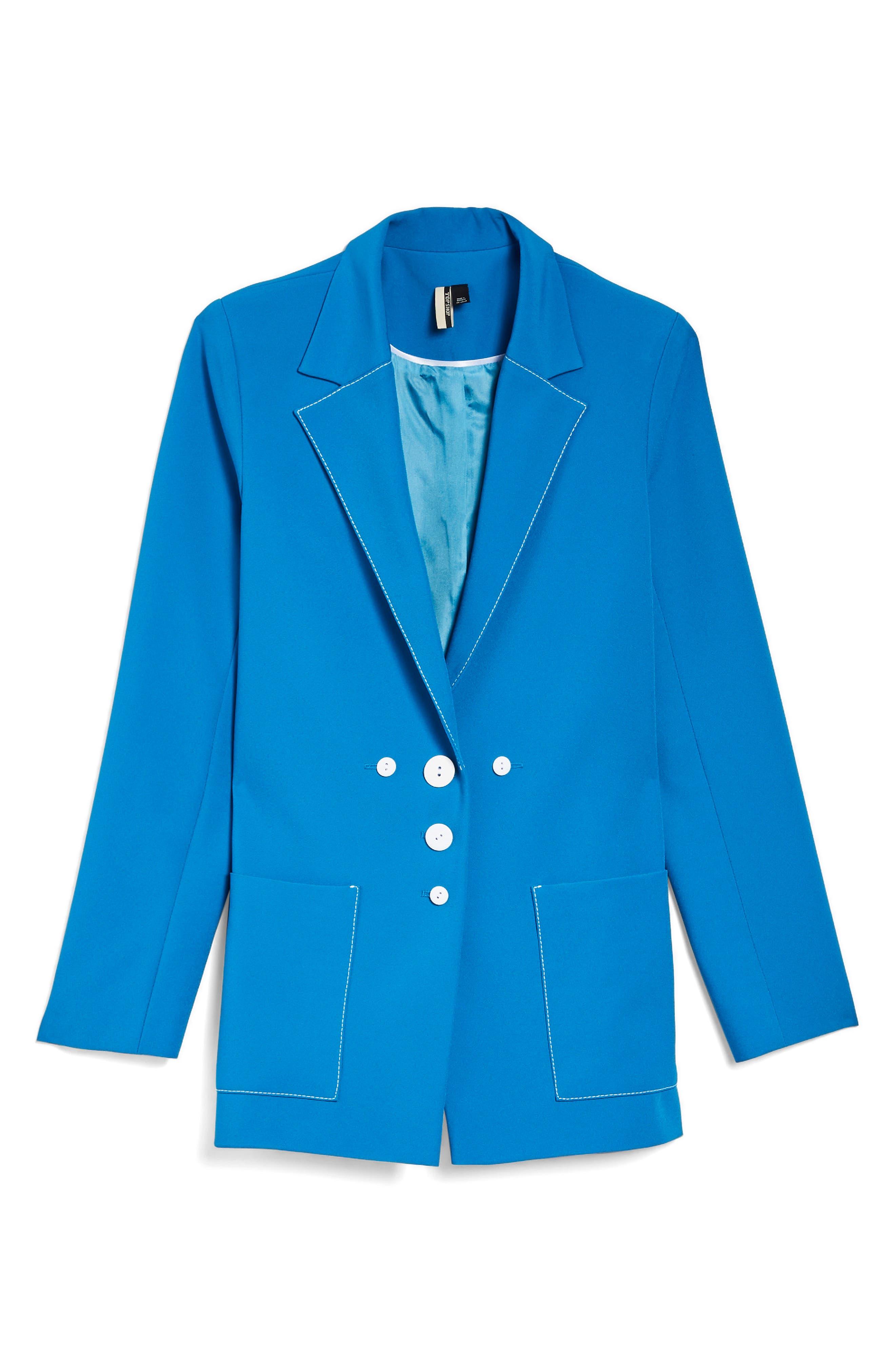 Azure Contrast Stitch Suit Jacket,                             Alternate thumbnail 4, color,