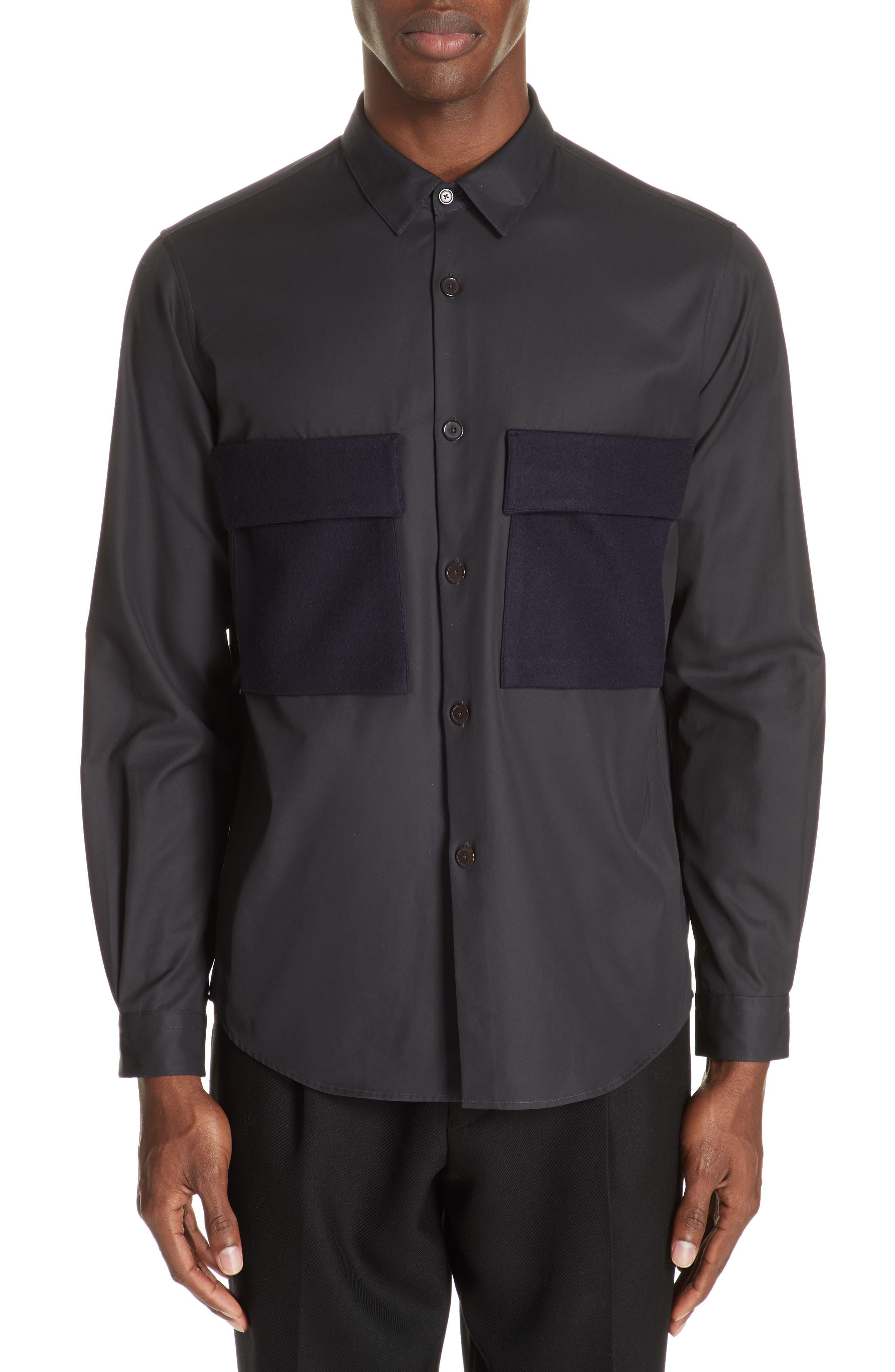 Gabardine Woven Shirt,                         Main,                         color, NAVY