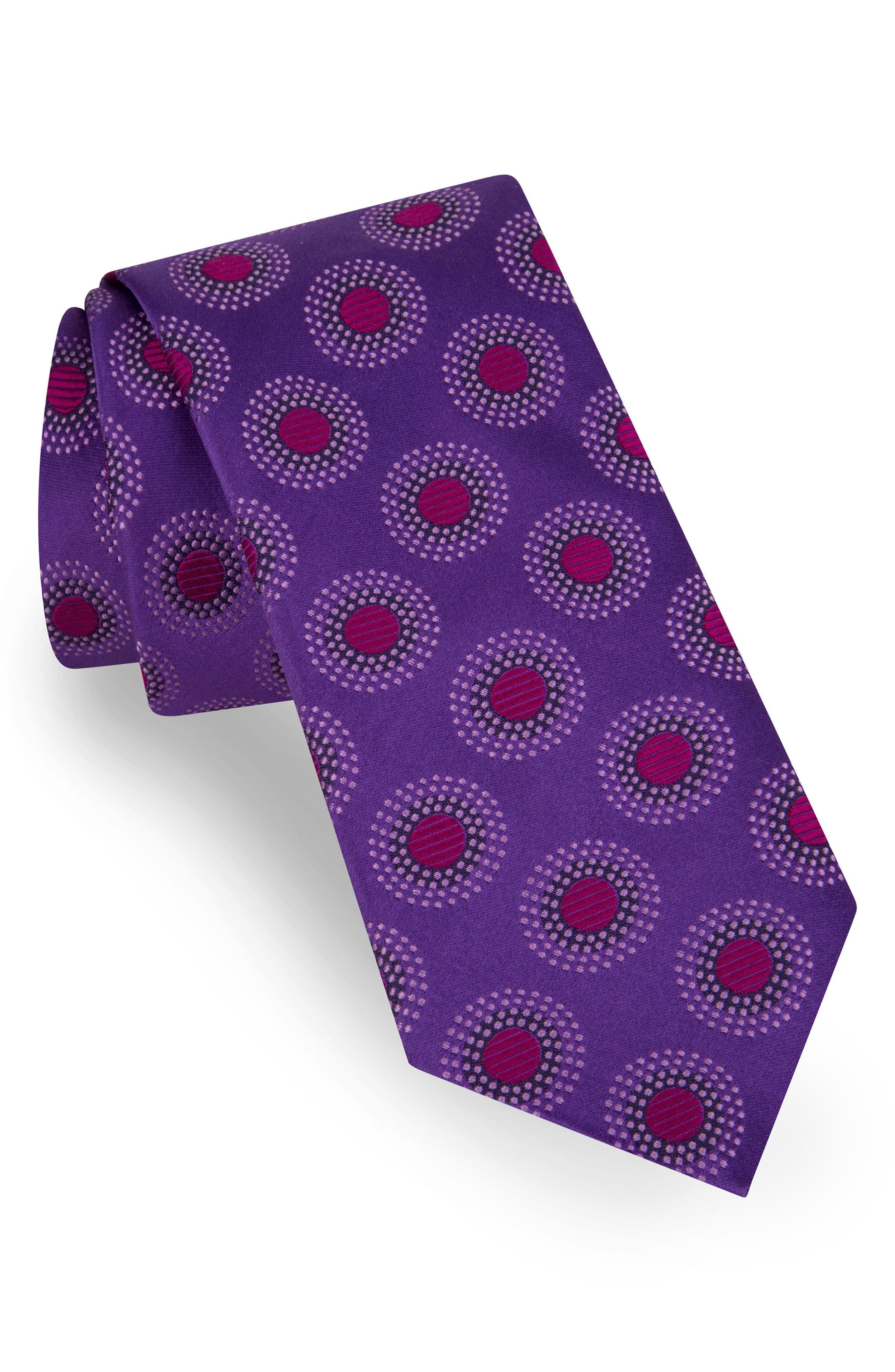 Circle Dot Silk Tie,                         Main,                         color, PURPLE