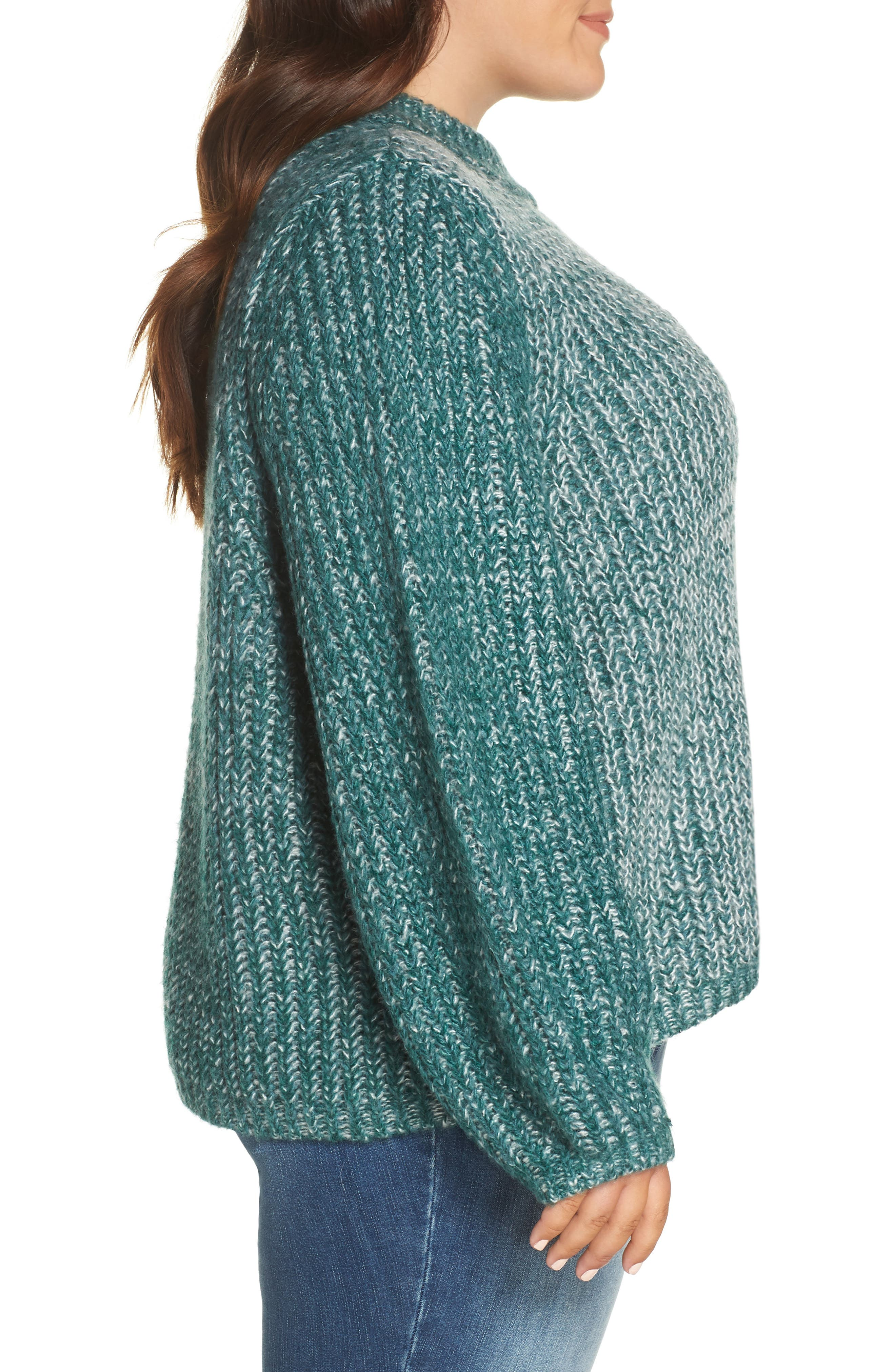 Marl Knit Sweater,                             Alternate thumbnail 3, color,                             TEAL HYDRO