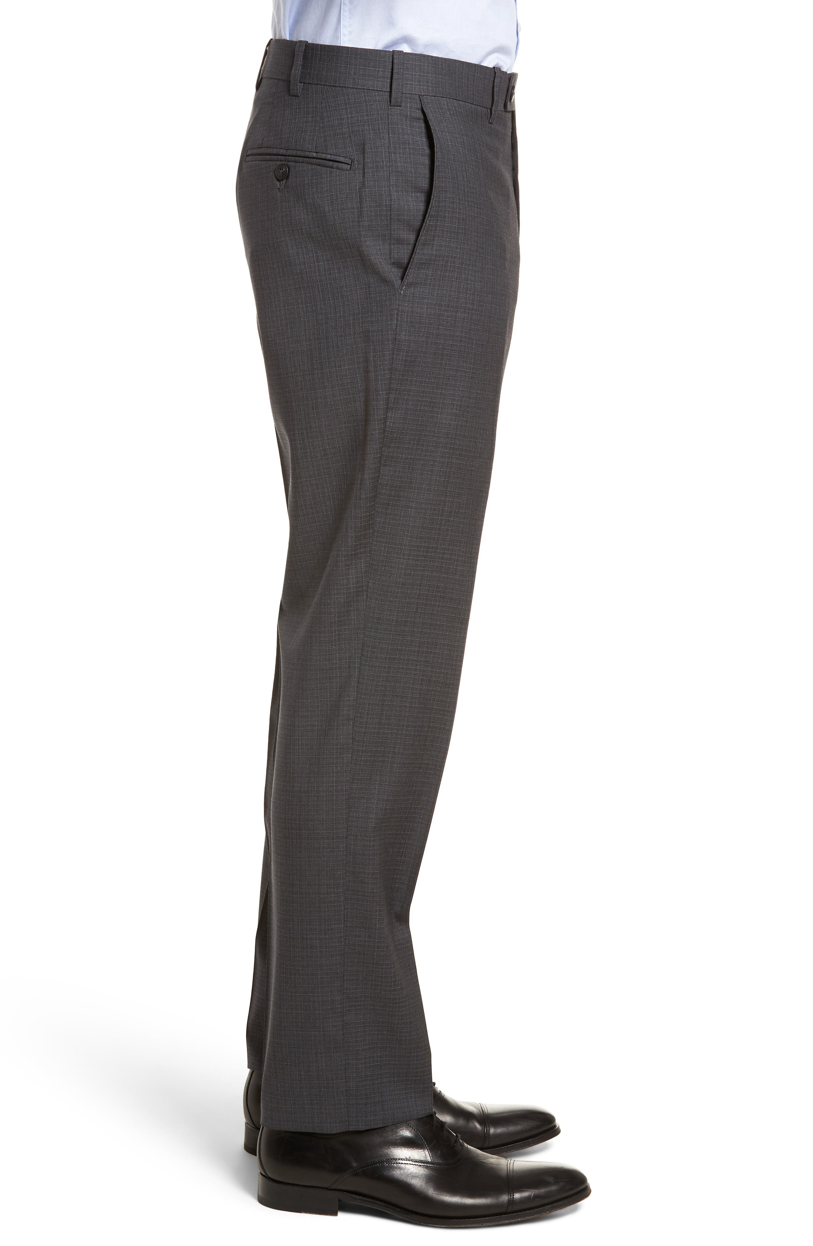 Flat Front Check Wool Trousers,                             Alternate thumbnail 7, color,