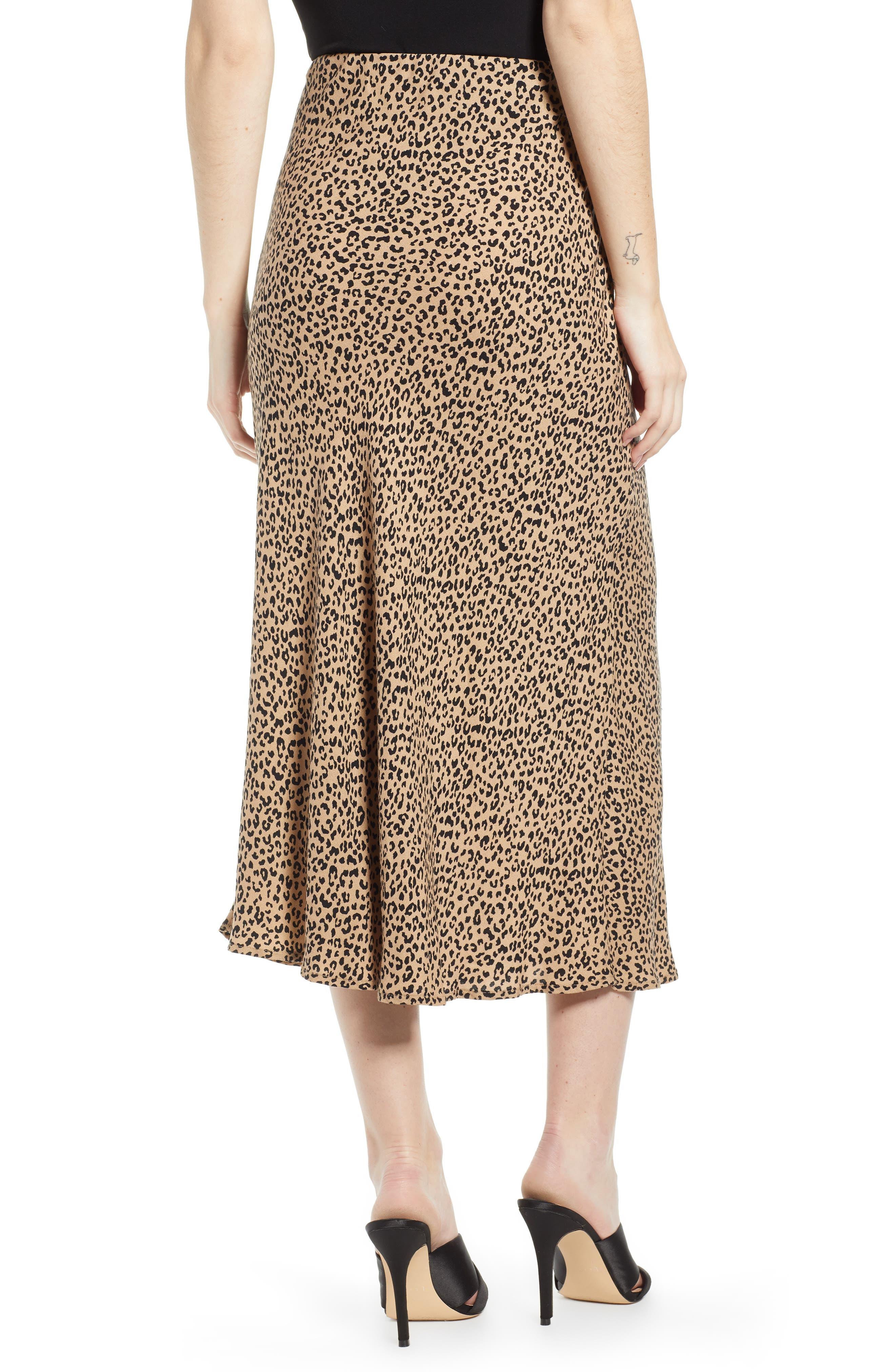 LOVE, FIRE,                             Leopard Midi Skirt,                             Alternate thumbnail 2, color,                             LEOPARD