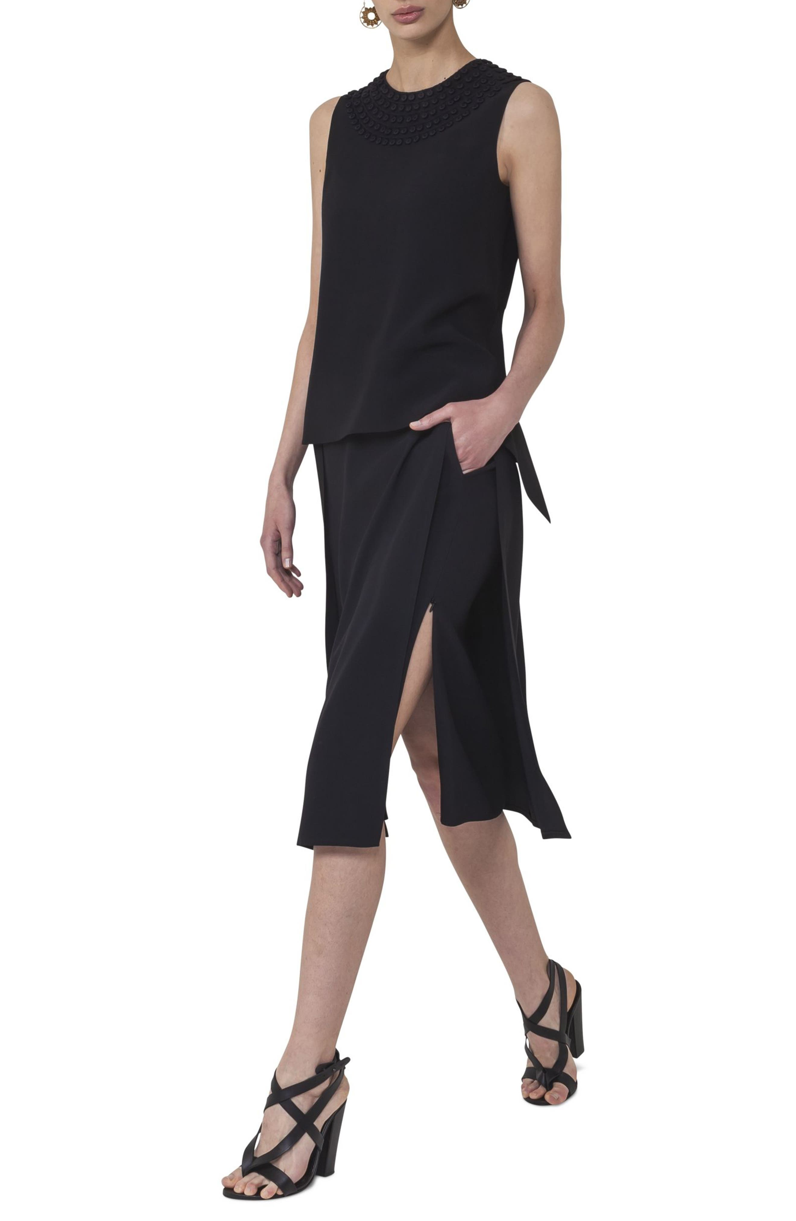 Side Zip Strap Skirt,                             Alternate thumbnail 3, color,                             009