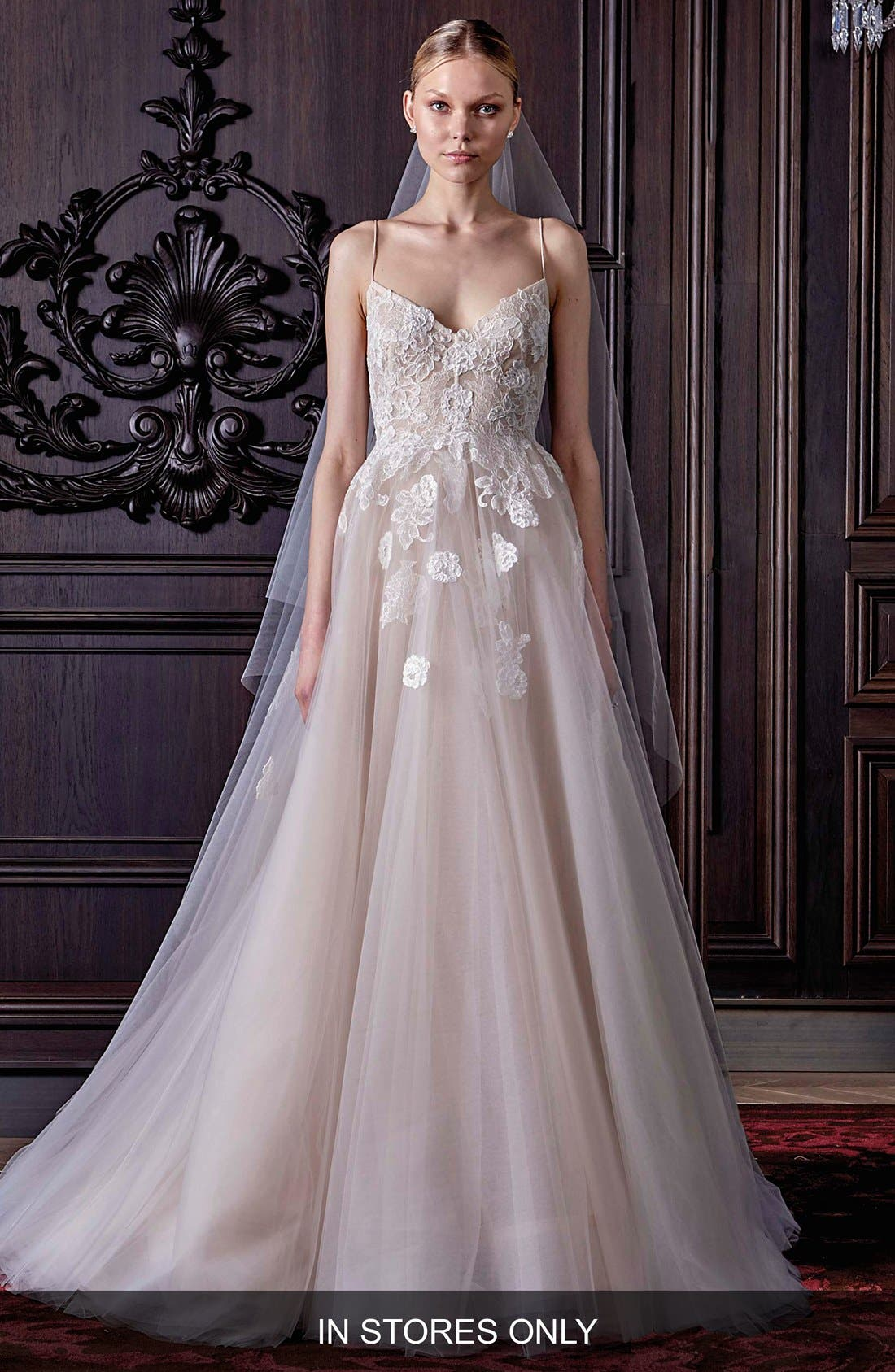 Severine Chantilly Lace & Tulle Gown,                             Main thumbnail 1, color,                             SILK WHITE/ NUDE