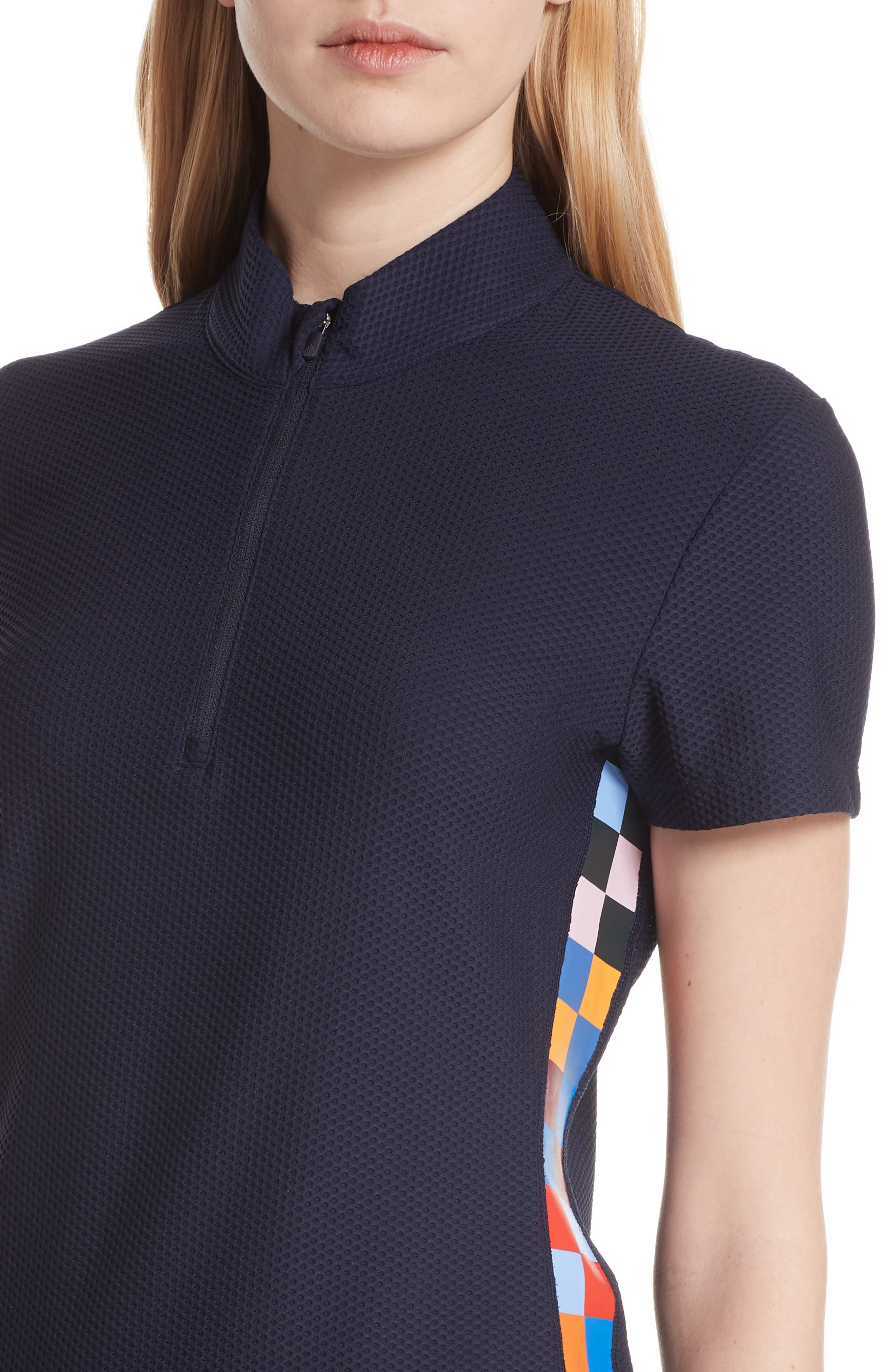 Checker Quarter Zip Mesh Top,                             Alternate thumbnail 4, color,                             TORY NAVY