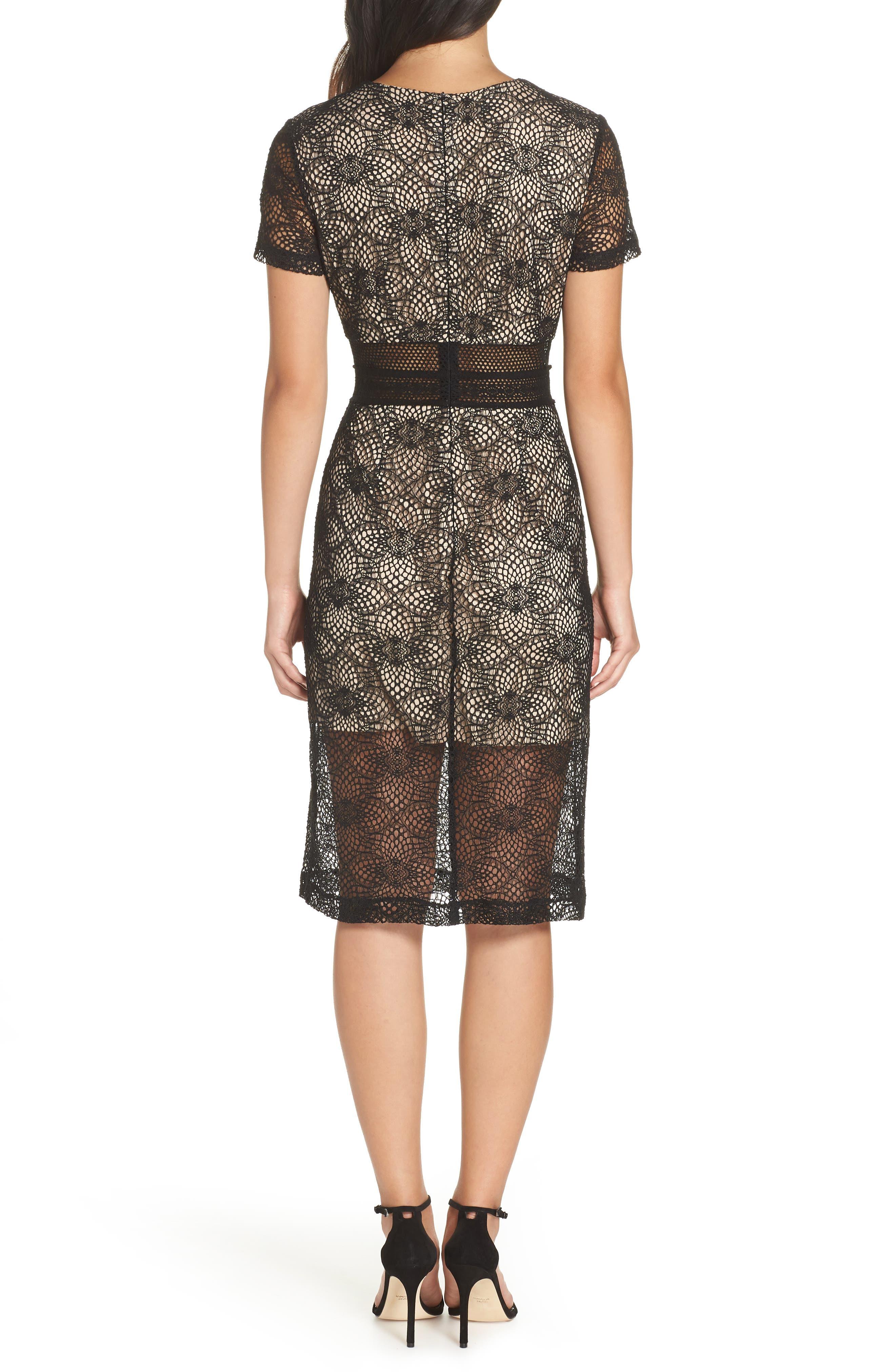 Juliette Lace Sheath Dress,                             Alternate thumbnail 2, color,                             BLACK