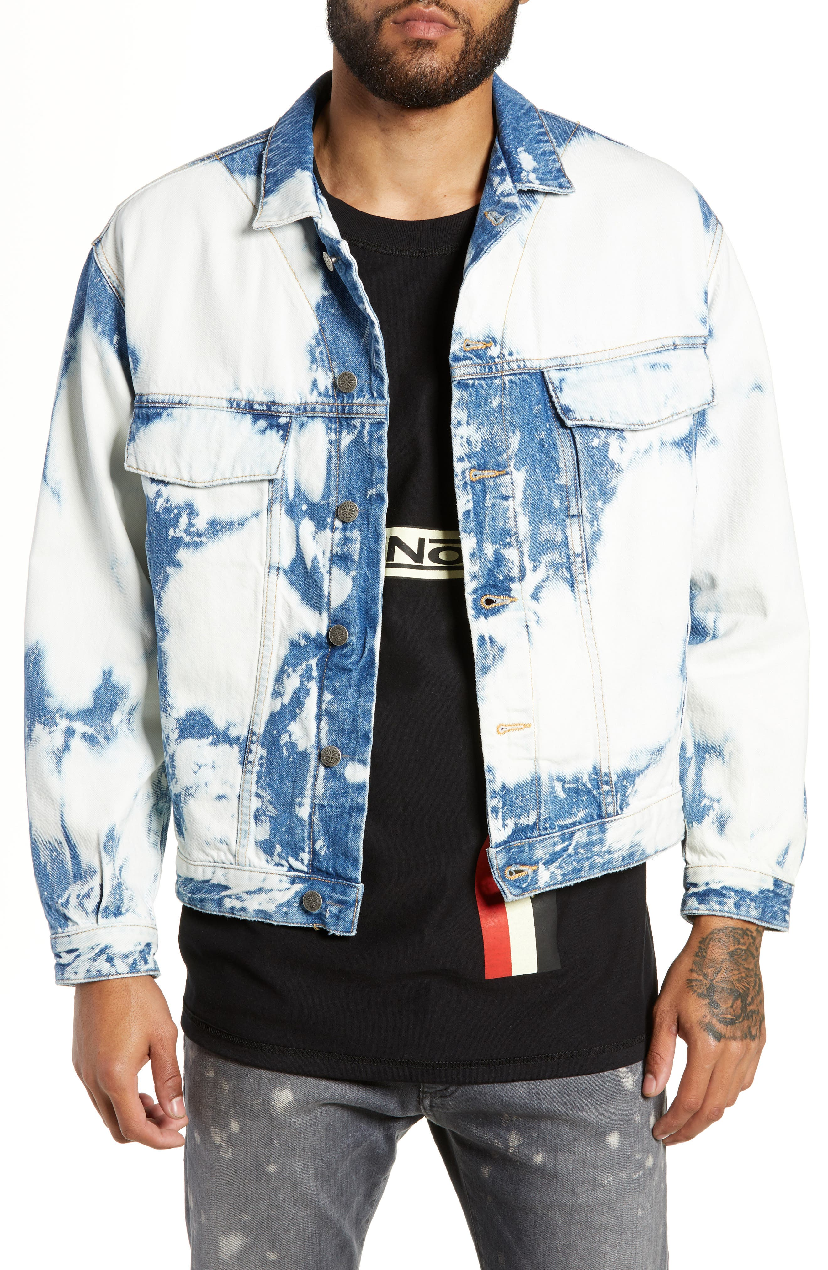 Stained Denim Jacket, Main, color, STAINED