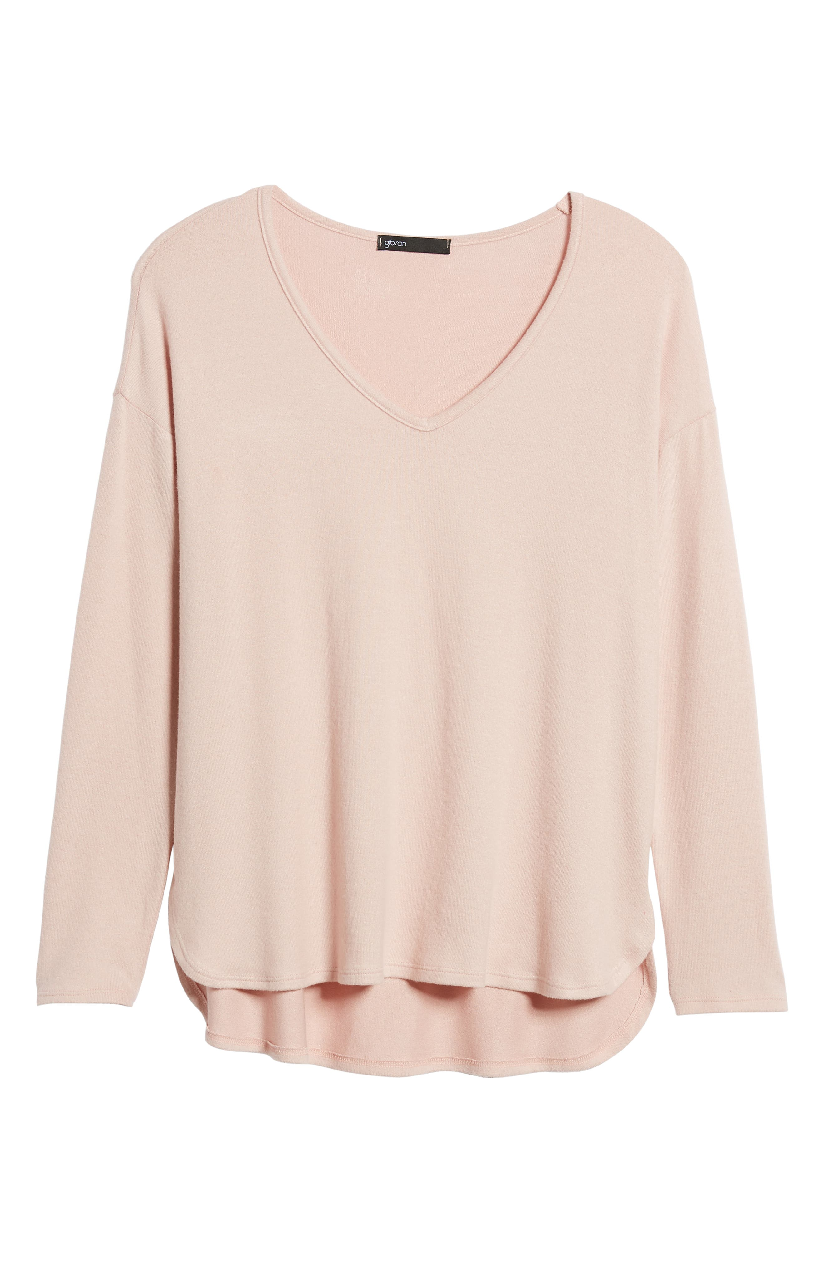 Cozy V-Neck Top,                             Alternate thumbnail 6, color,                             PINK SMOKE