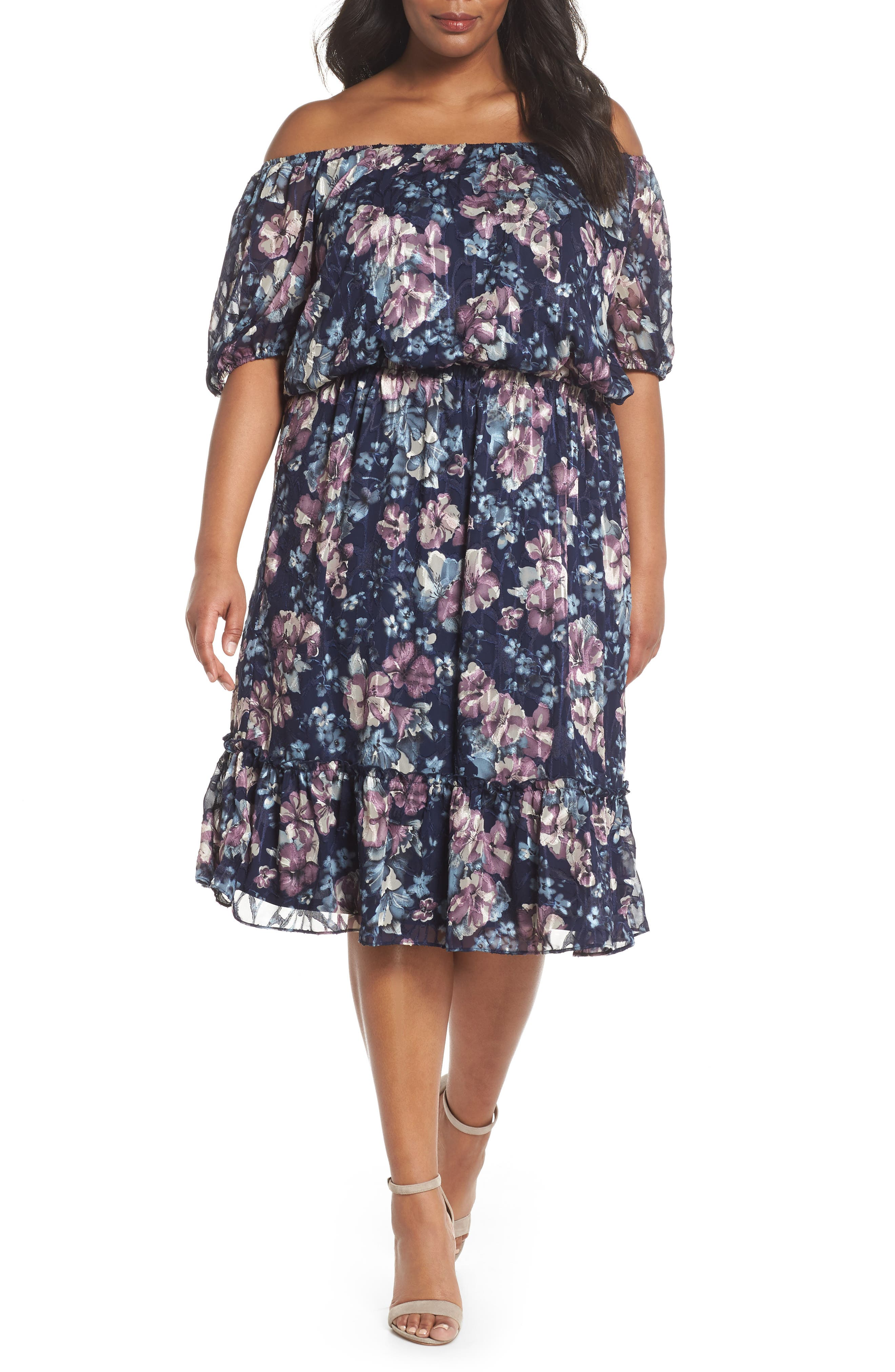 Floral Burnout Off the Shoulder Blouson Dress,                             Main thumbnail 1, color,                             480