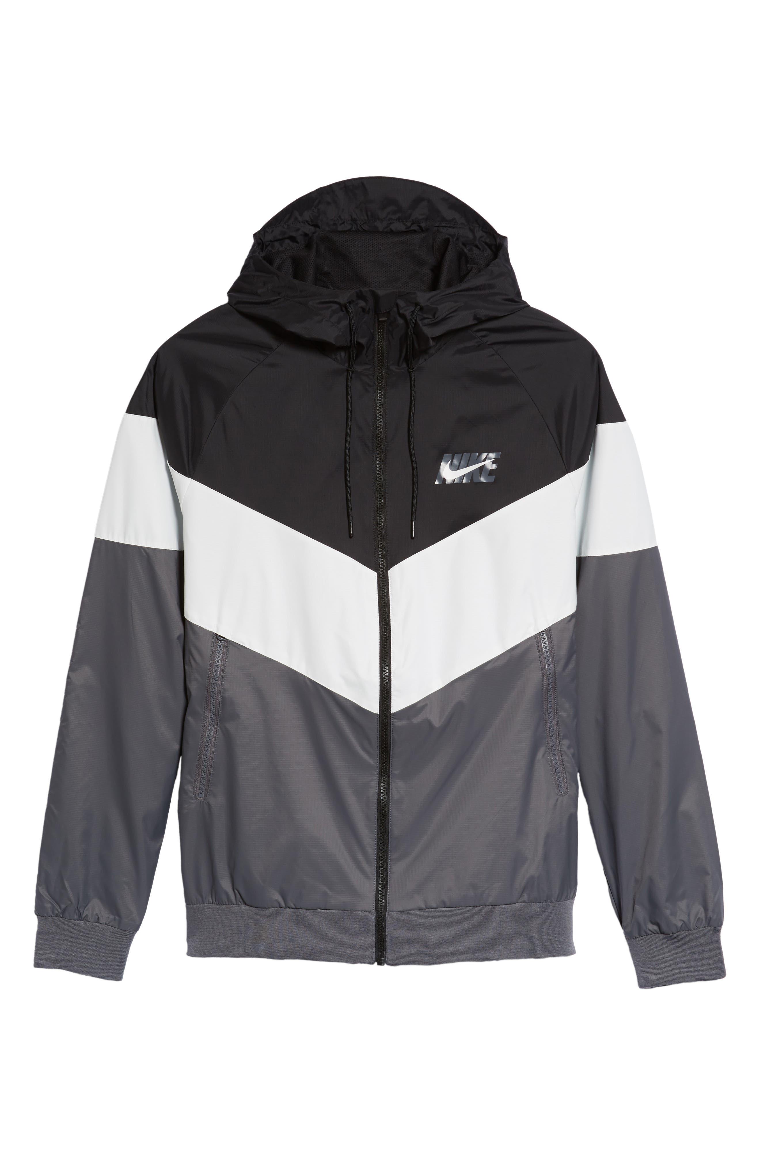 Windrunner Wind & Water Repellent Hooded Jacket,                             Alternate thumbnail 6, color,                             BLACK/ SUMMIT WHITE/ DARK GREY