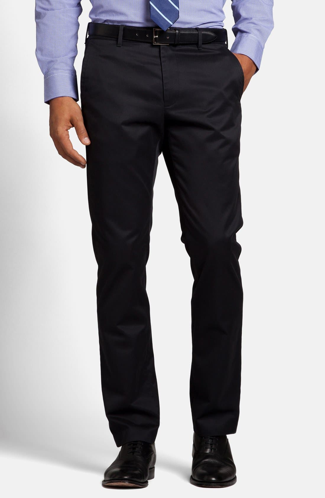 'Weekday Warriors' Non-Iron Slim Fit Cotton Chinos,                         Main,                         color, TUESDAY BLACKS