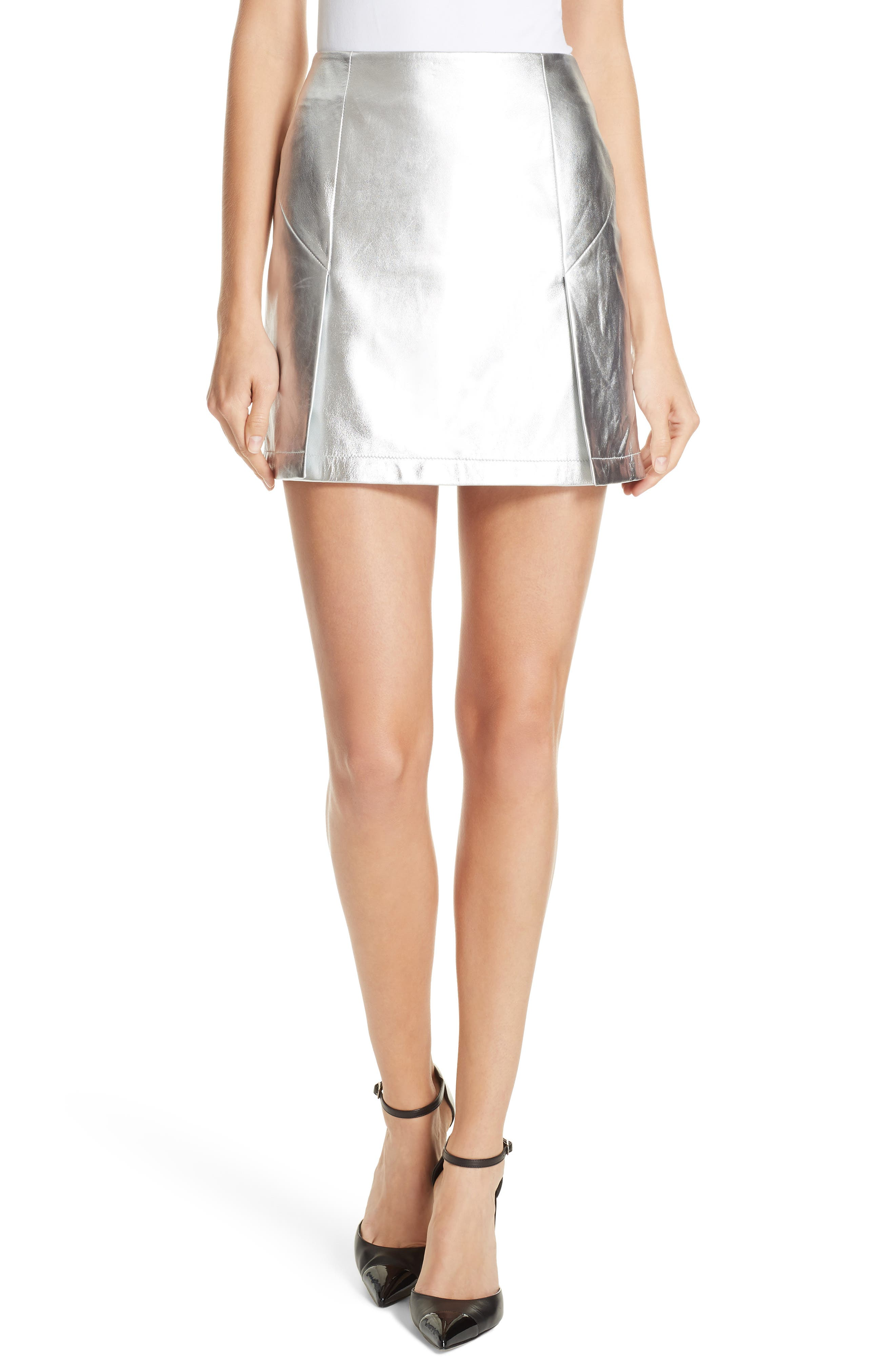 Metallic Leather Miniskirt,                         Main,                         color, 040