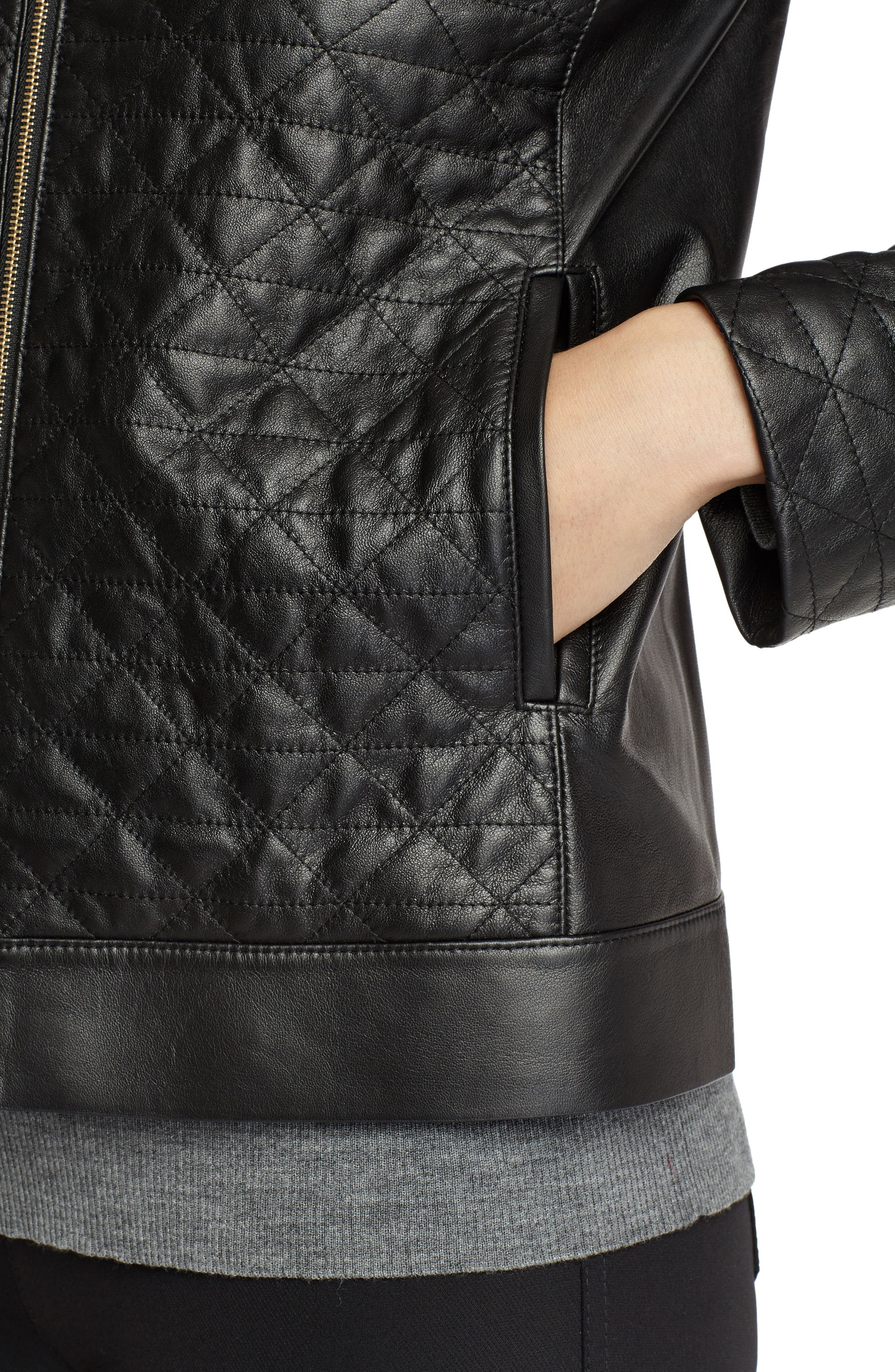 Becks Quilted Lambskin Leather Moto Jacket,                             Alternate thumbnail 4, color,                             001