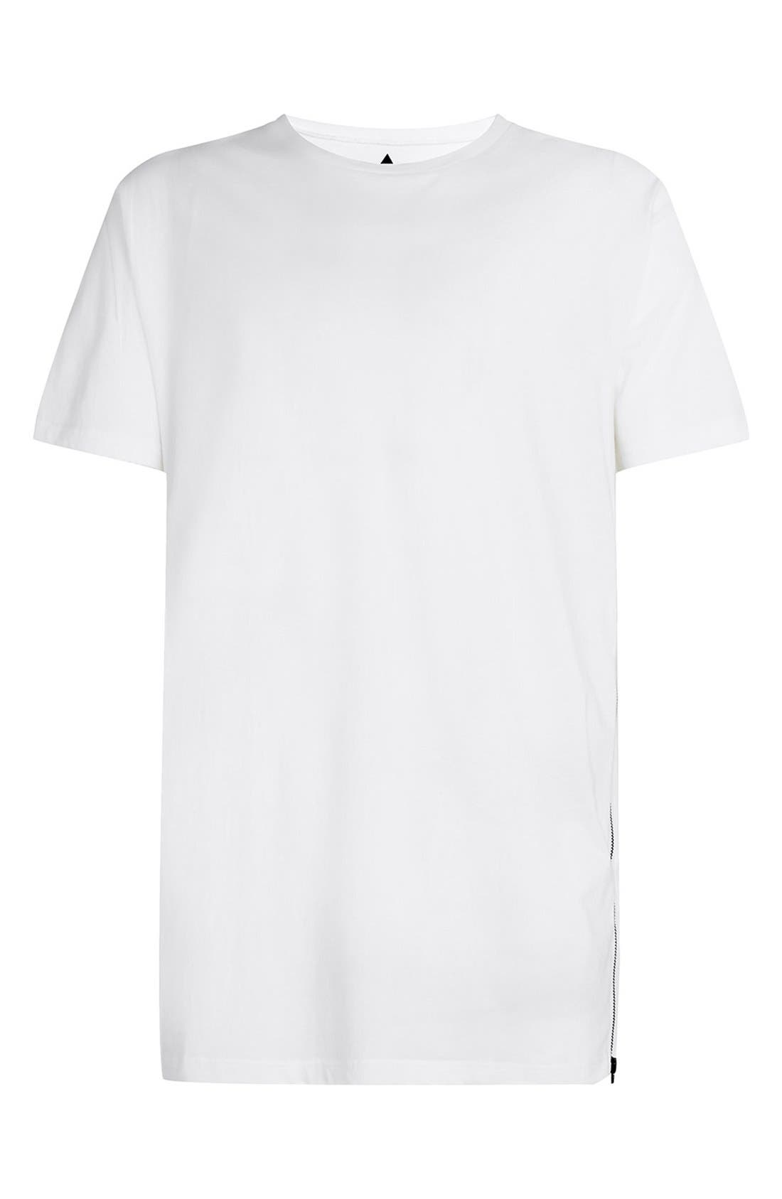 Slim Fit Longline T-Shirt with Side Zip Detail,                             Alternate thumbnail 5, color,                             100