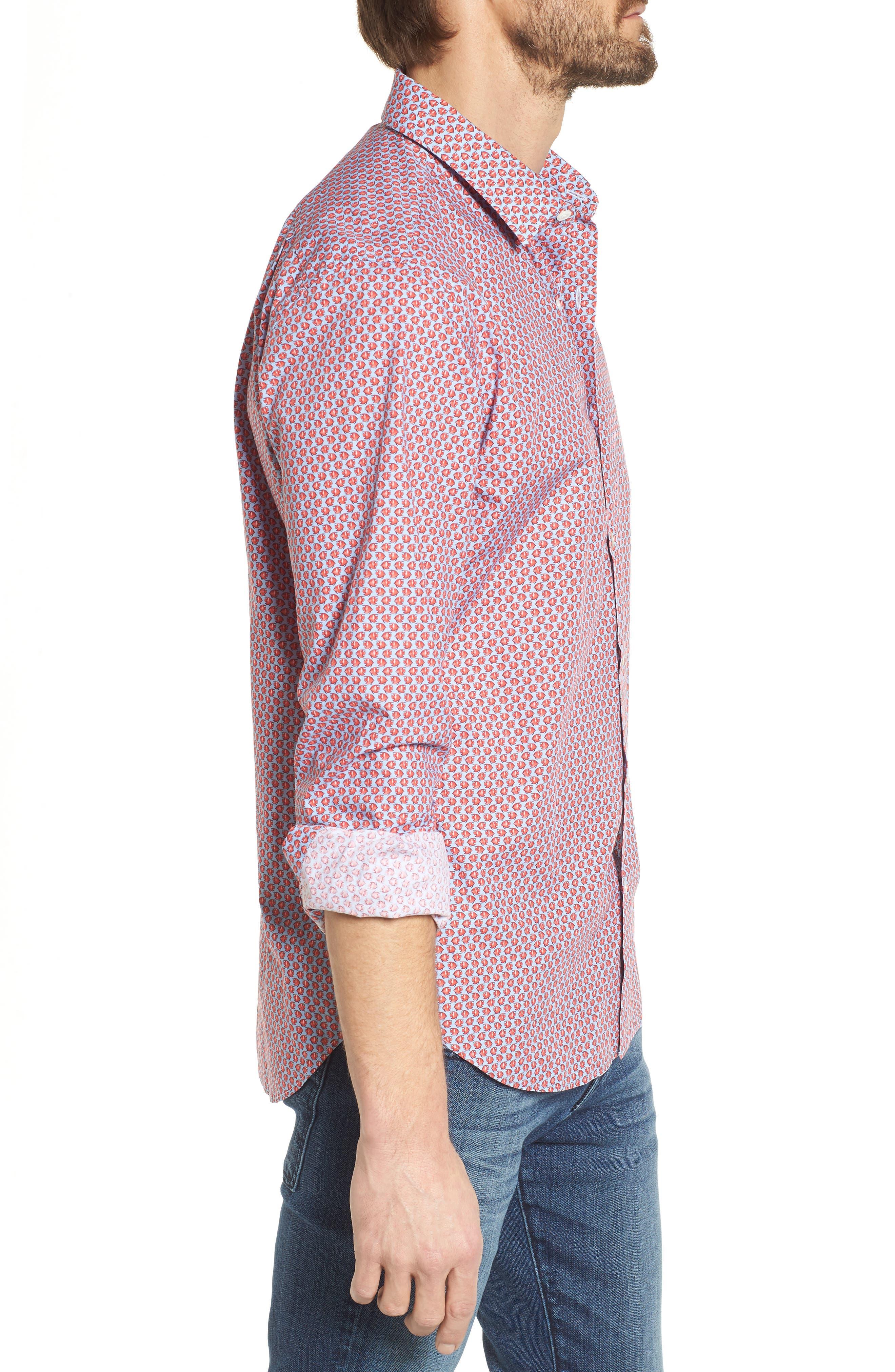 Premium Slim Fit Print Sport Shirt,                             Alternate thumbnail 3, color,                             600