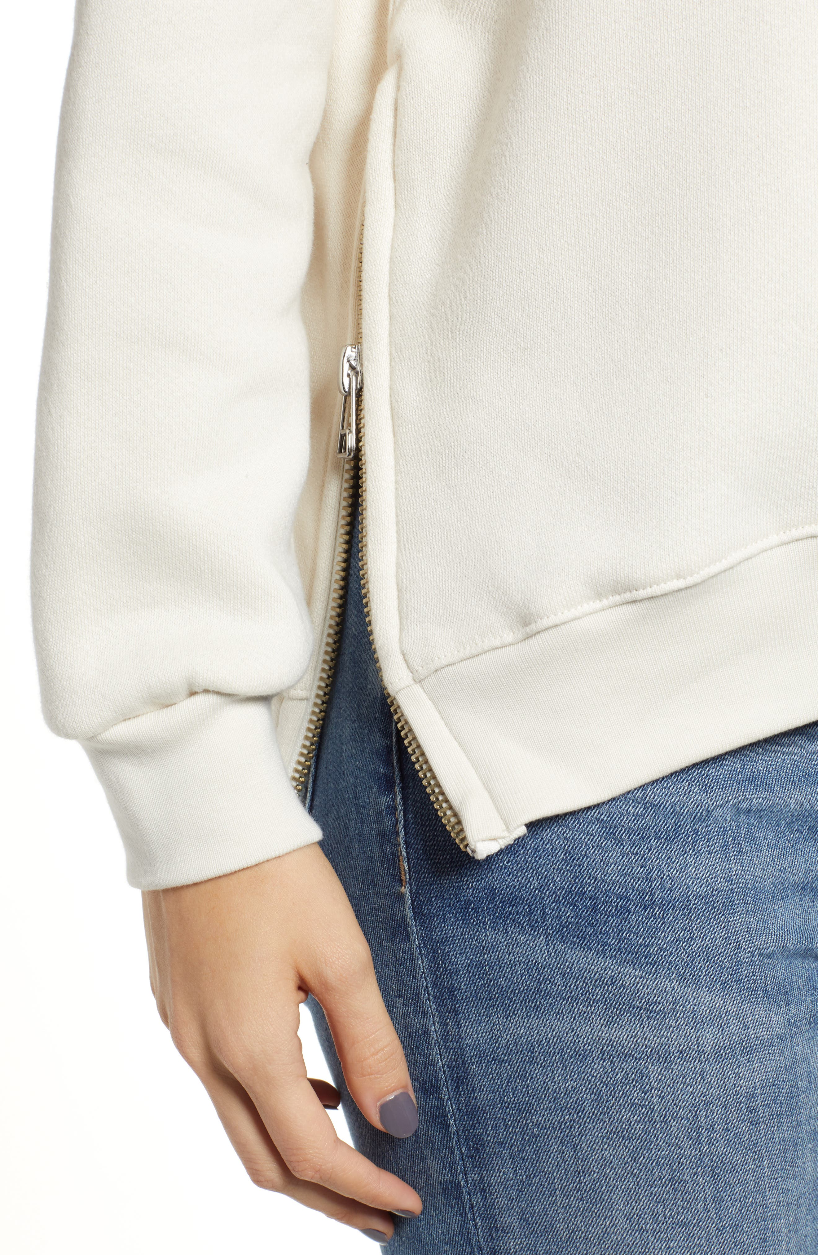 Side Zip Stripe Pullover,                             Alternate thumbnail 4, color,                             100