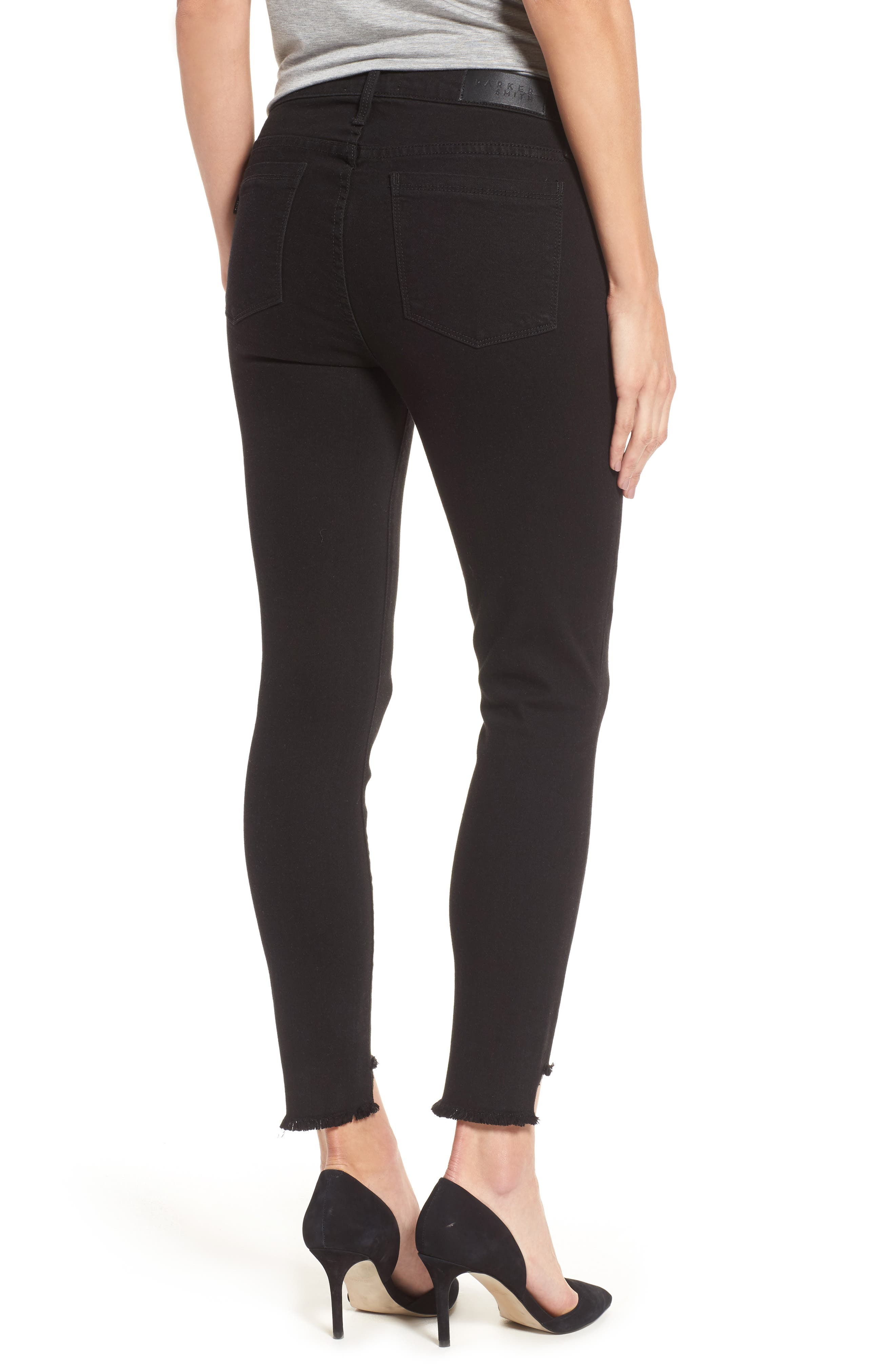 Twisted Seam Ankle Skinny Jeans,                             Alternate thumbnail 2, color,                             001