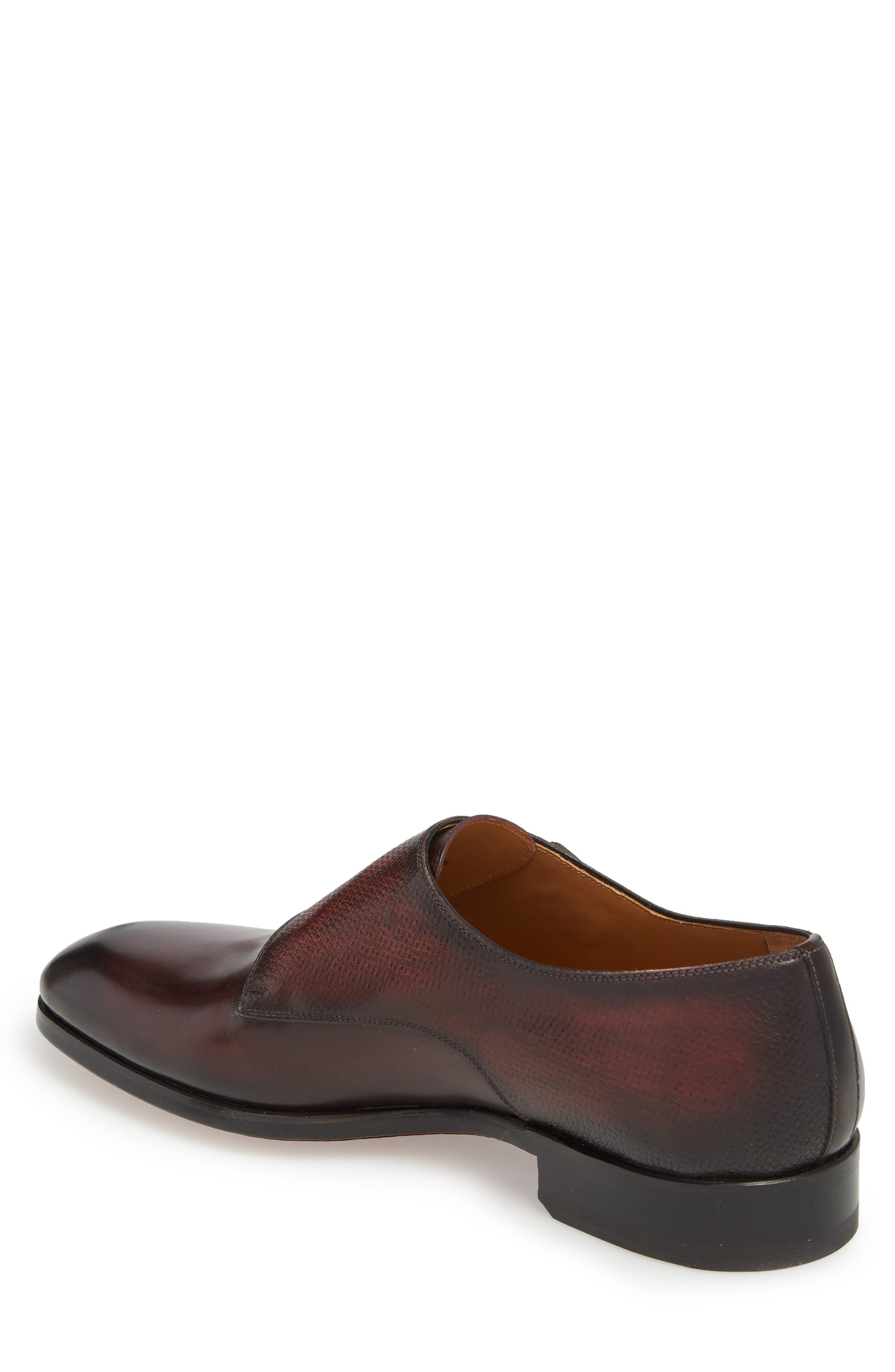 Arlo Pebbled Monk Shoe,                             Alternate thumbnail 2, color,                             BURGUNDY LEATHER
