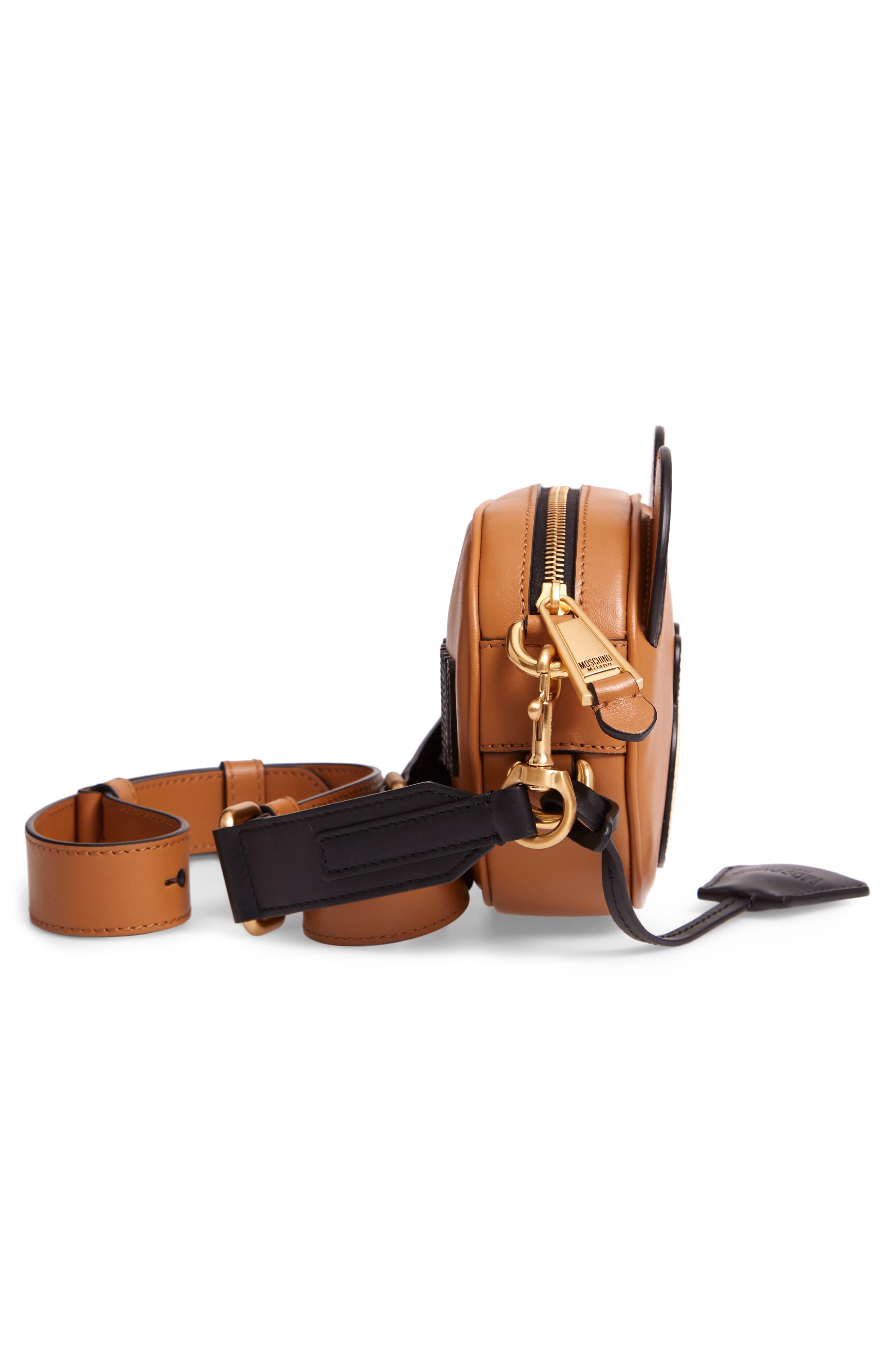 Crystal Teddy Leather Crossbody Bag,                             Alternate thumbnail 5, color,                             BROWN