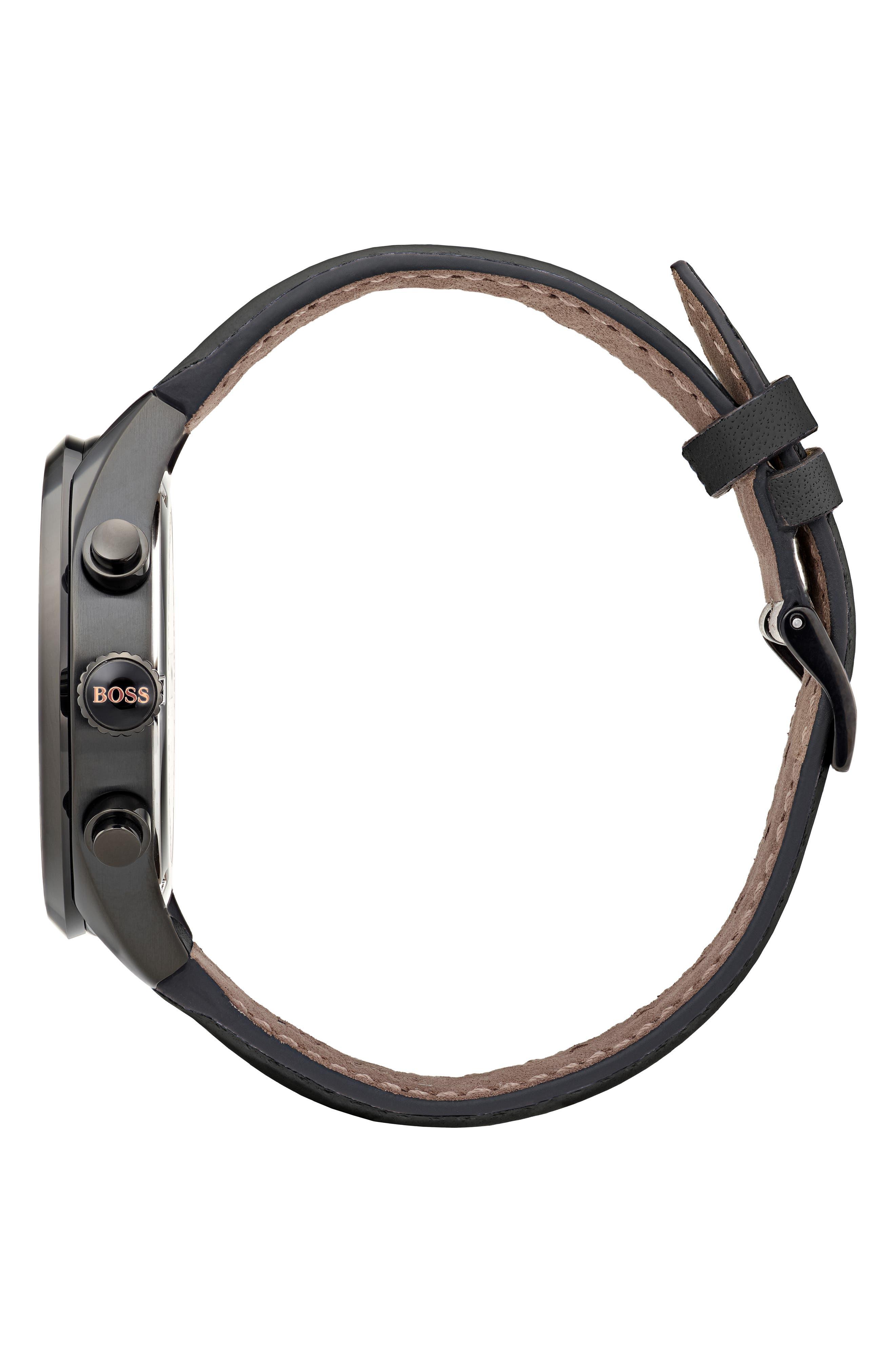 Grand Prix Leather Strap Chronograph Watch, 44mm,                             Alternate thumbnail 3, color,                             BLACK/ BLACK