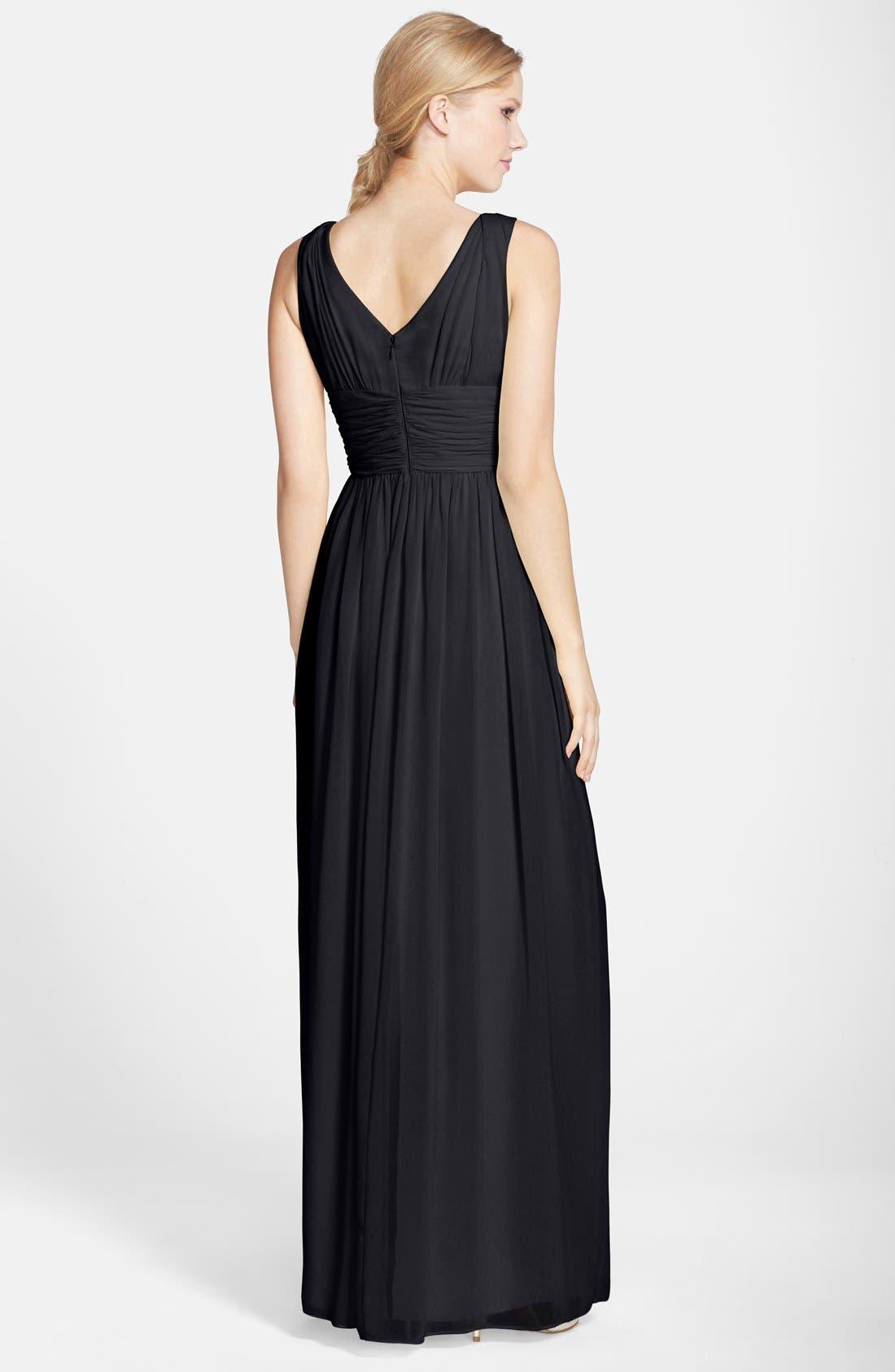DONNA MORGAN,                             'Julie' Twist-Waist Silk Chiffon Gown,                             Alternate thumbnail 3, color,                             001