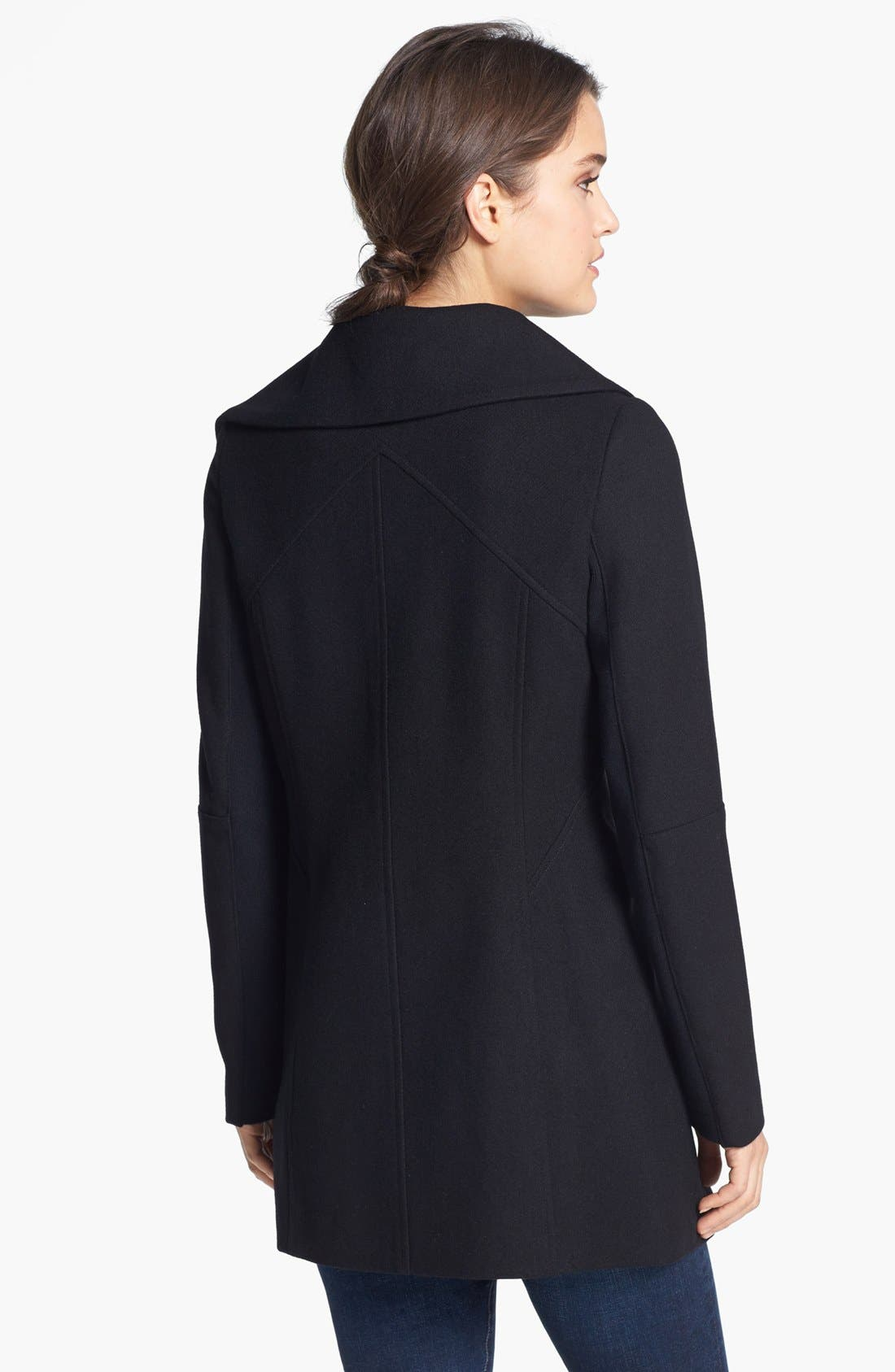 'Kit' Asymmetrical Wool Blend Coat,                             Alternate thumbnail 3, color,                             001