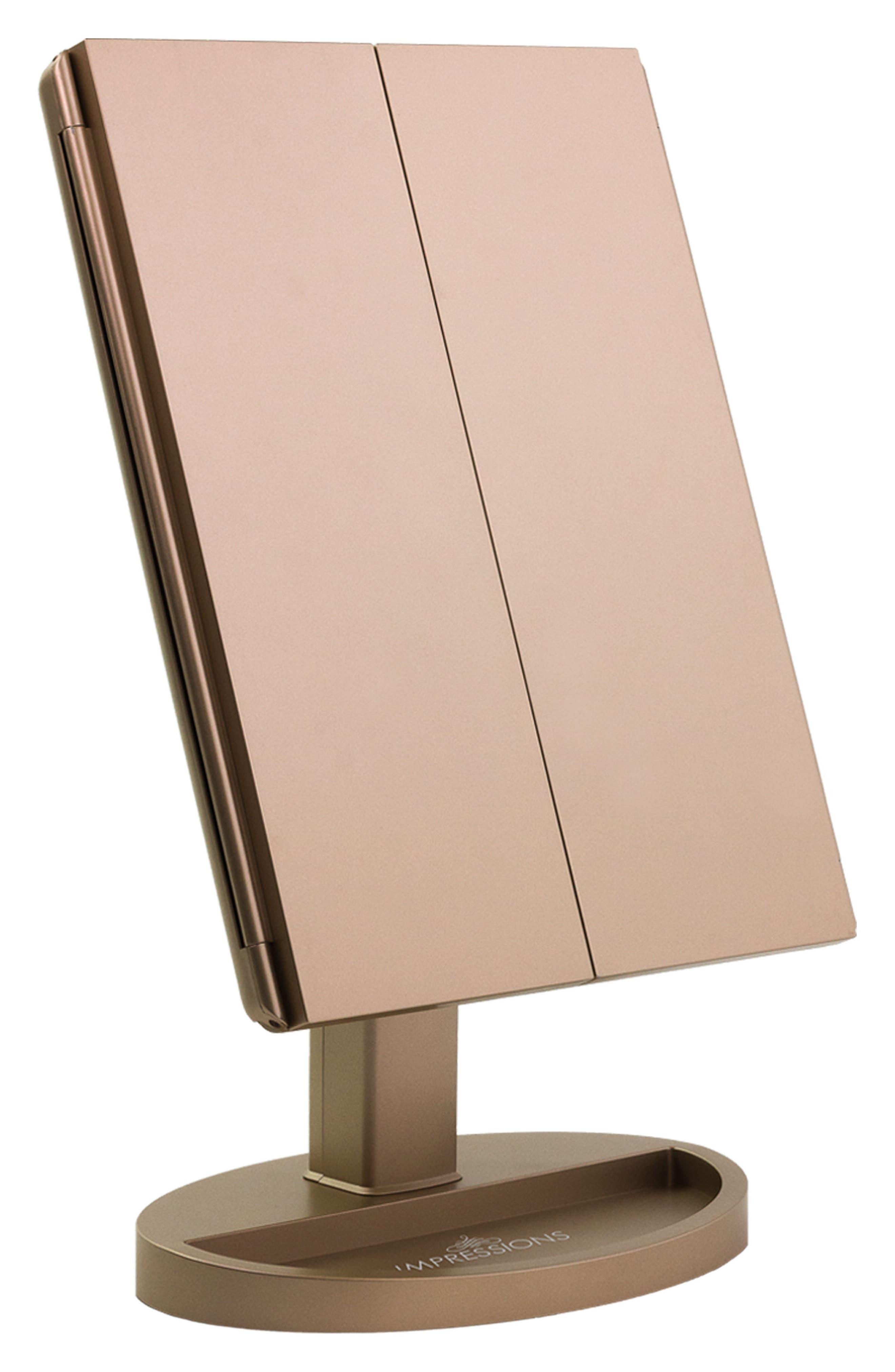 Touch Trifold XL Dimmable LED Makeup Mirror,                             Main thumbnail 1, color,                             CHAMPAGNE GOLD