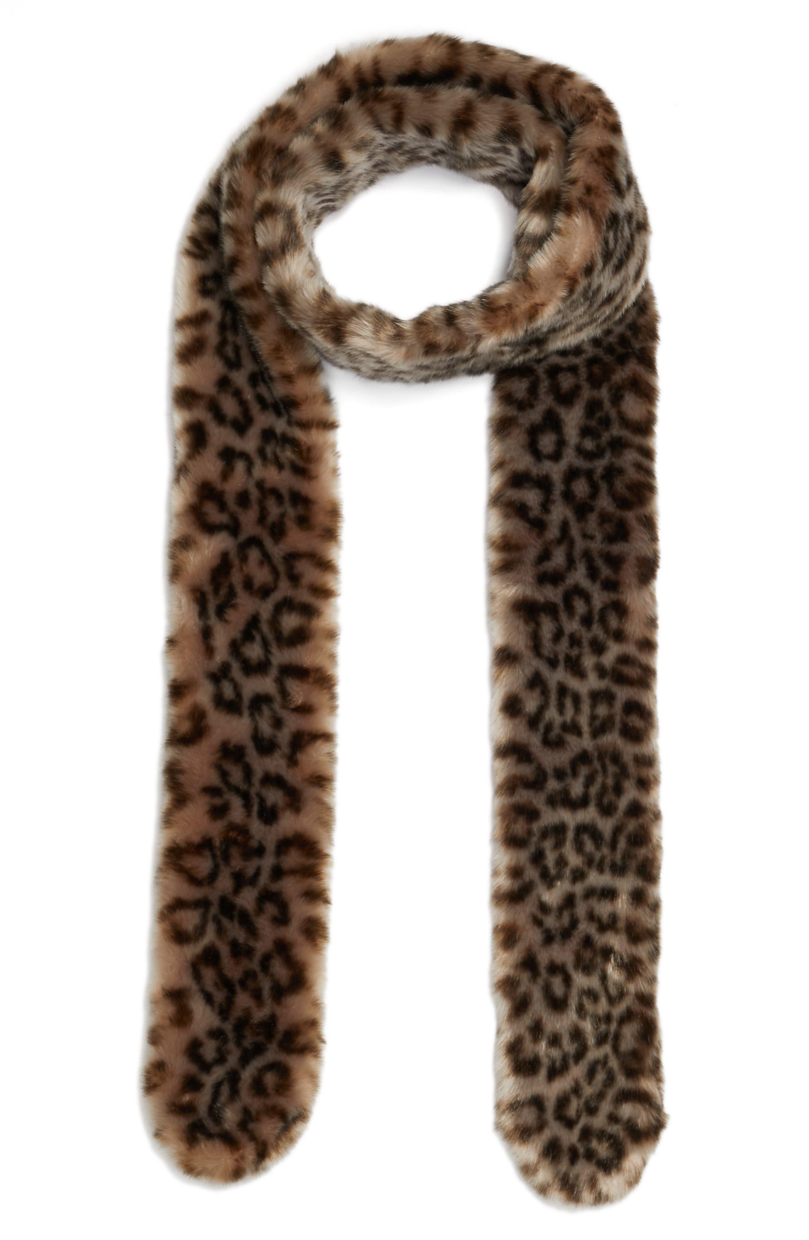 Leopard Print Faux Fur Scarf,                             Alternate thumbnail 3, color,                             020