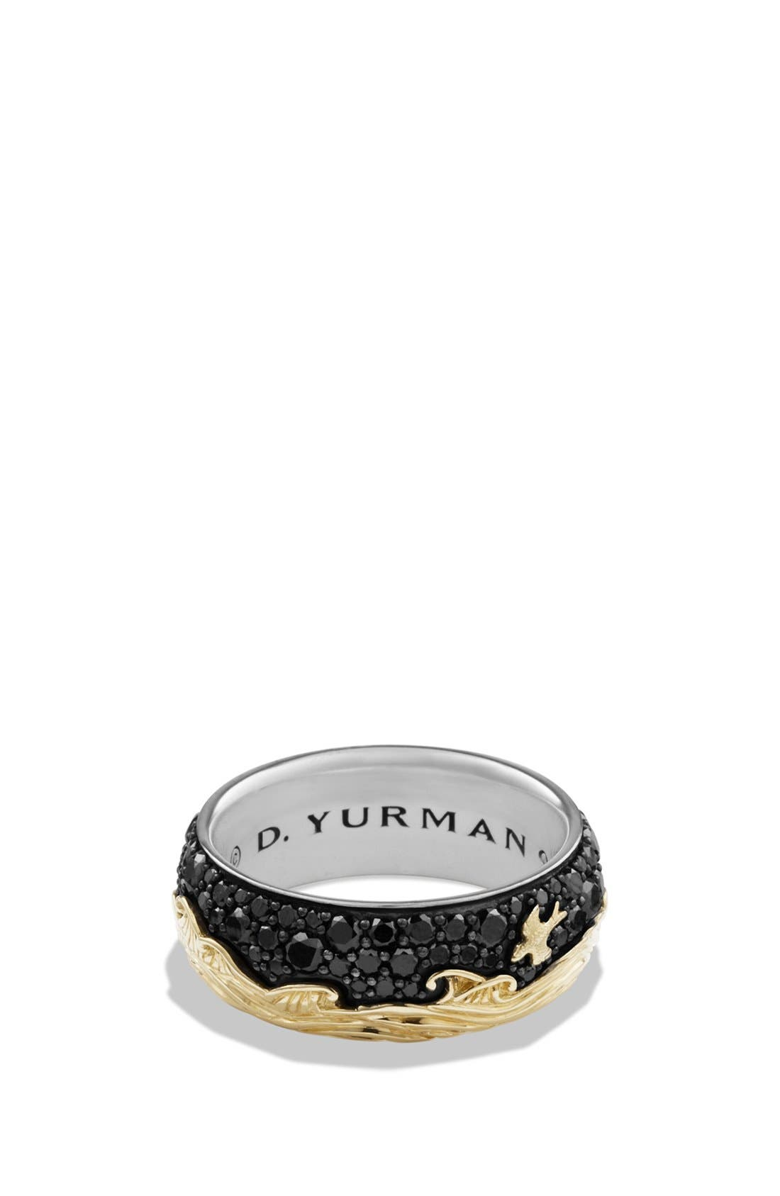'Waves' Band Ring with 18K Gold and Black Diamonds,                         Main,                         color, BLACK DIAMOND