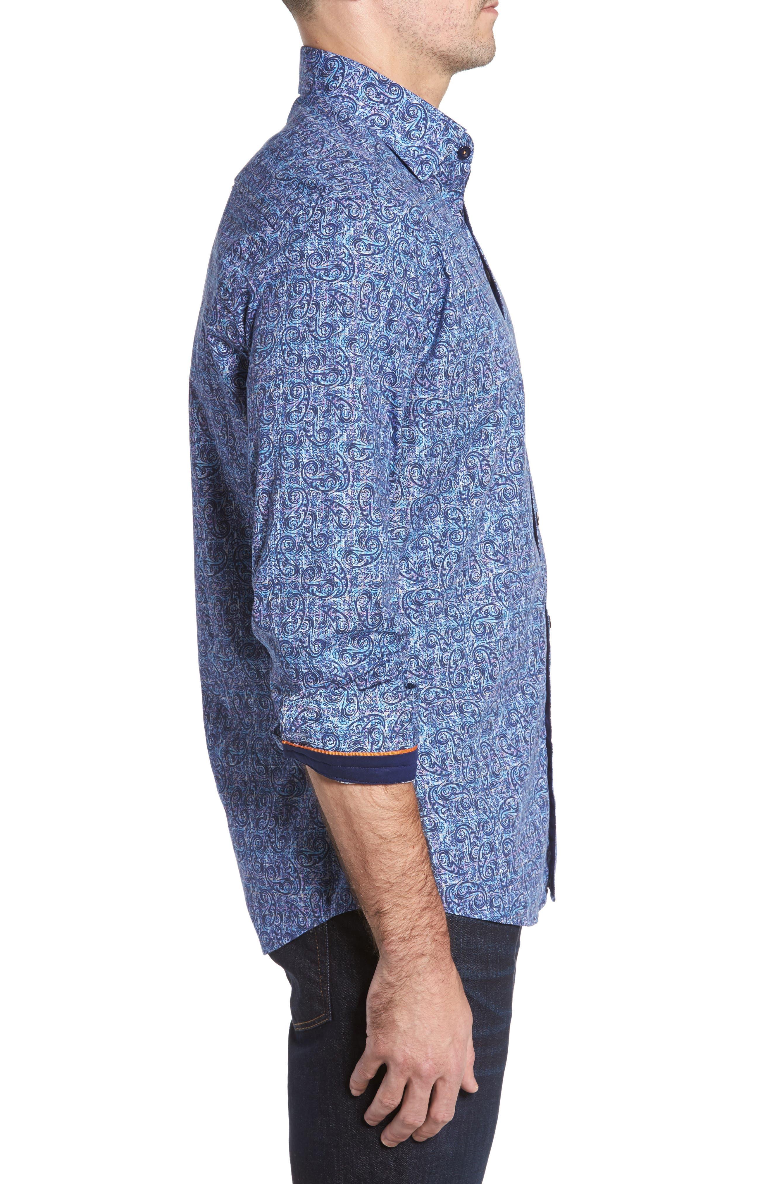 Slim Fit Paisley Plaid FX Sport Shirt,                             Alternate thumbnail 3, color,                             410