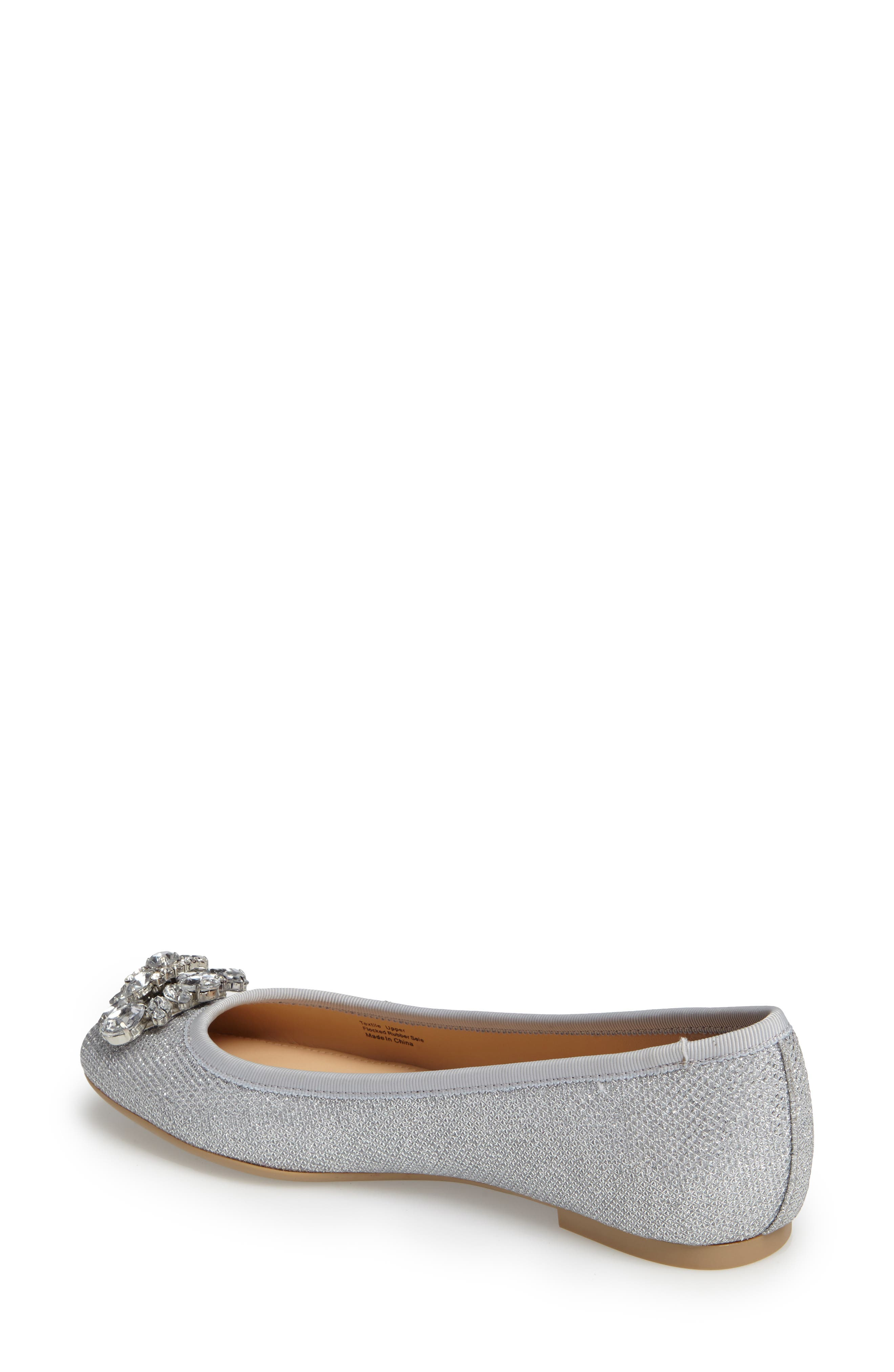 Cabella Embellished Ballet Flat,                             Alternate thumbnail 2, color,                             SILVER FABRIC