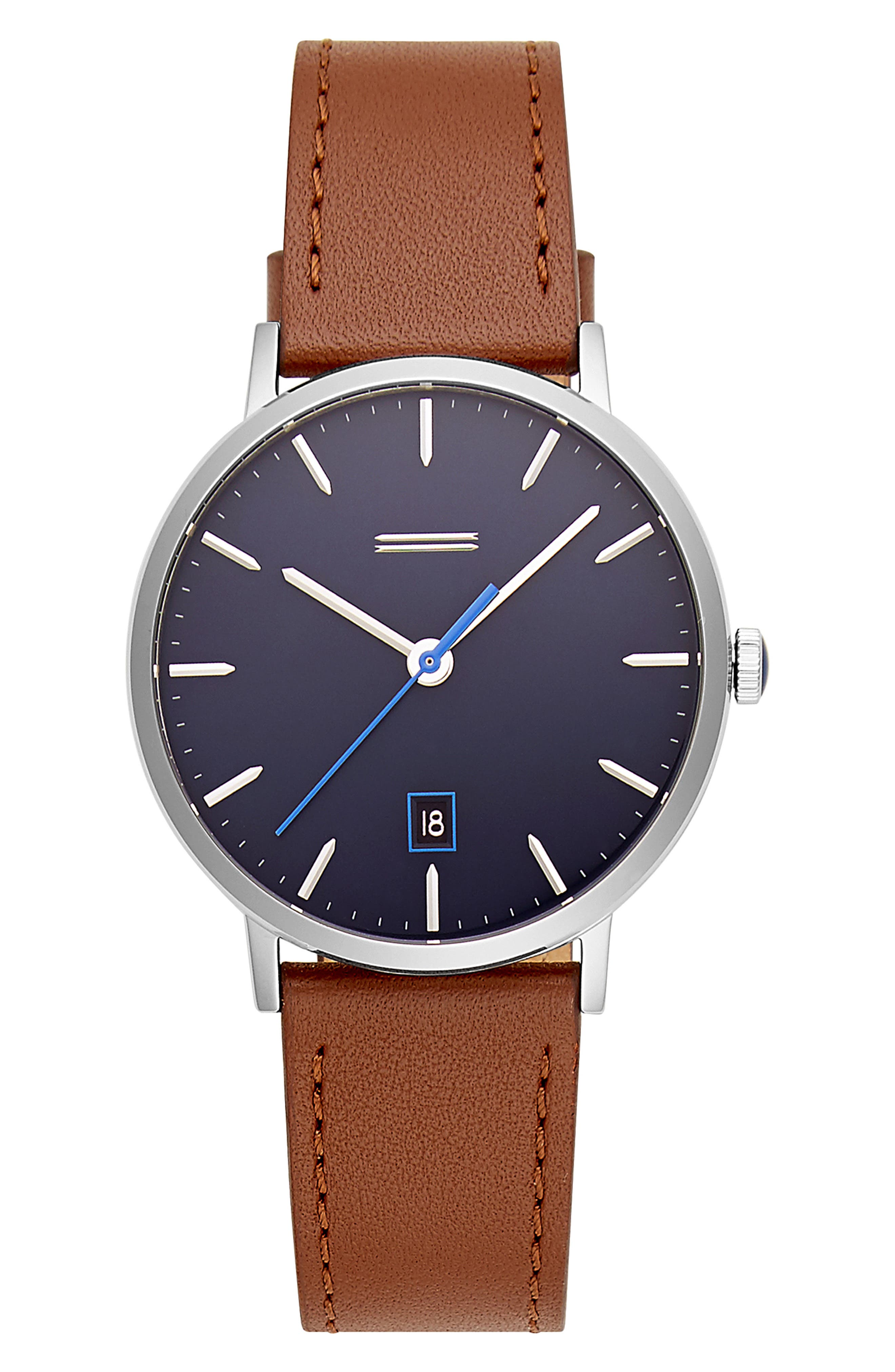 Norrebro Leather Watch, 40mm,                             Main thumbnail 1, color,                             BROWN/ NAVY/ SILVER