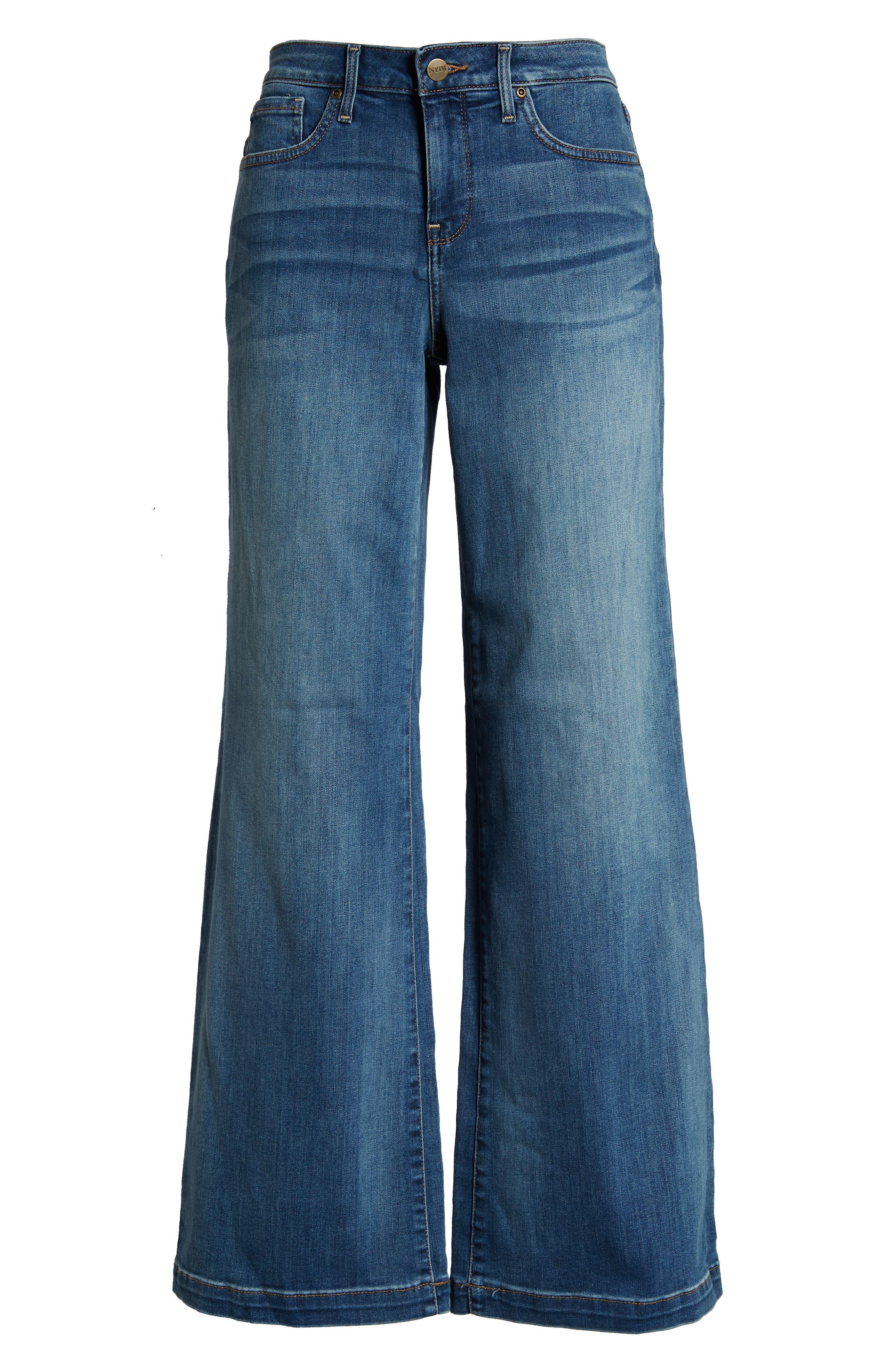 Wide Leg Clean Hem Jeans,                             Alternate thumbnail 4, color,                             CLEAN CABRILLO