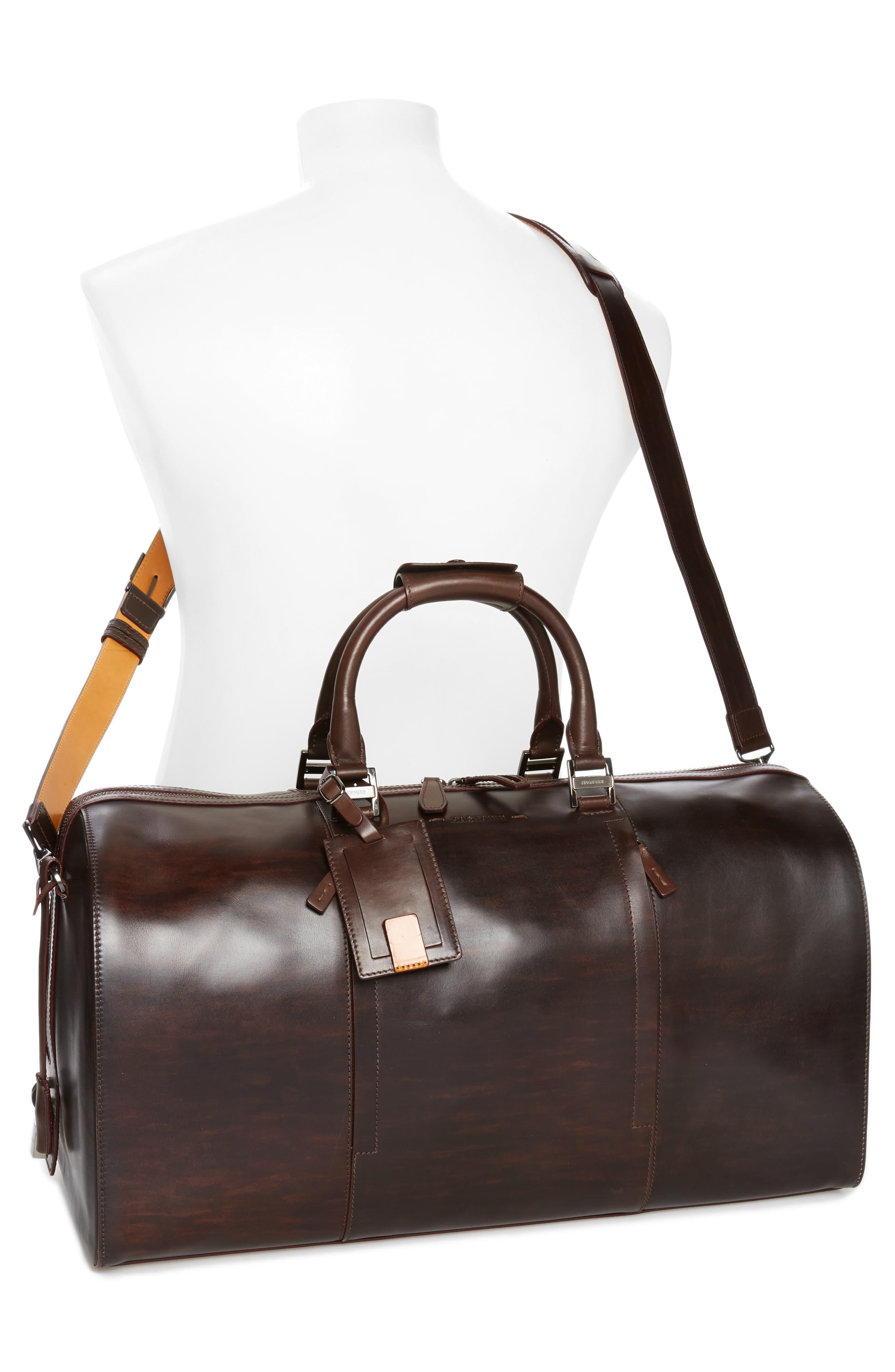 Traveler Leather Duffel Bag,                             Alternate thumbnail 6, color,