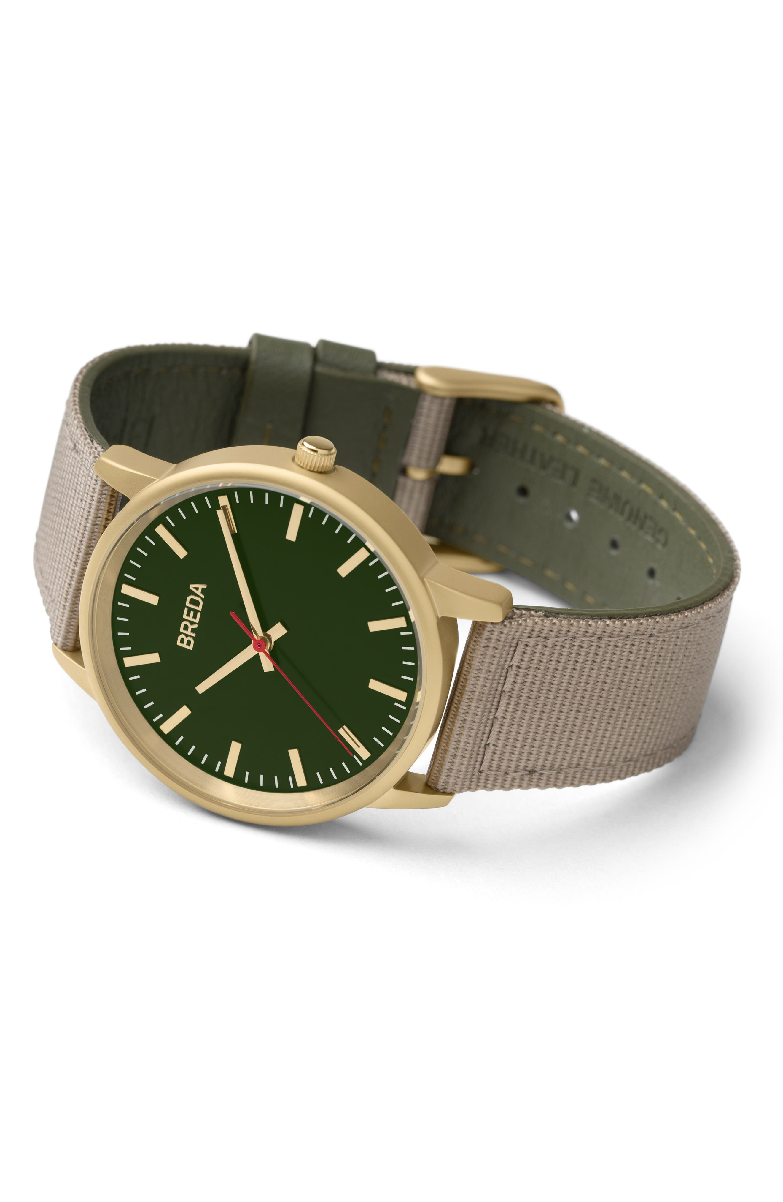 Valor Nylon Strap Watch, 39mm,                             Alternate thumbnail 3, color,                             BEIGE/ GREEN/ GOLD