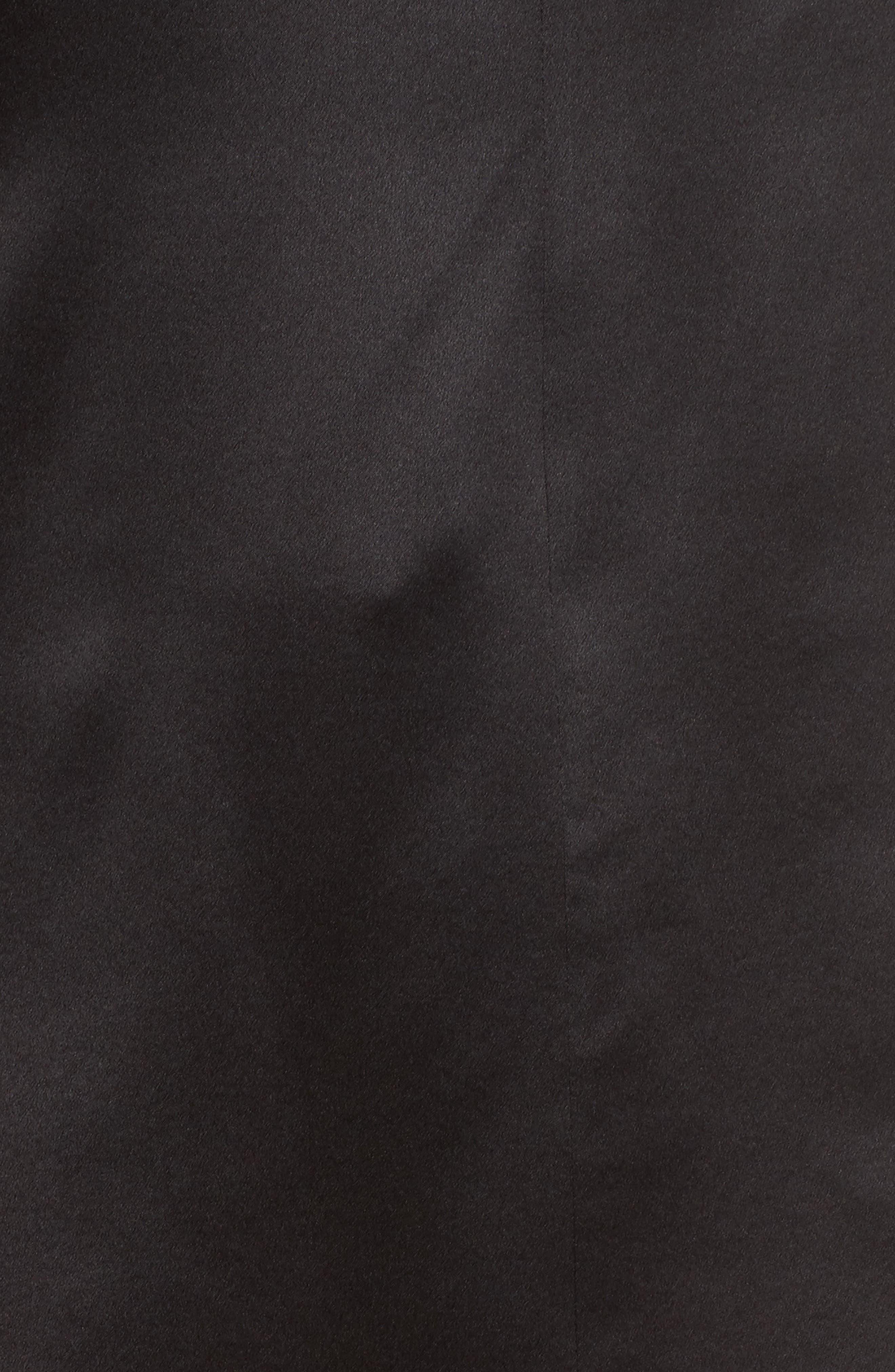 Satin V-Neck Ruched Silk Blouse,                             Alternate thumbnail 5, color,                             001