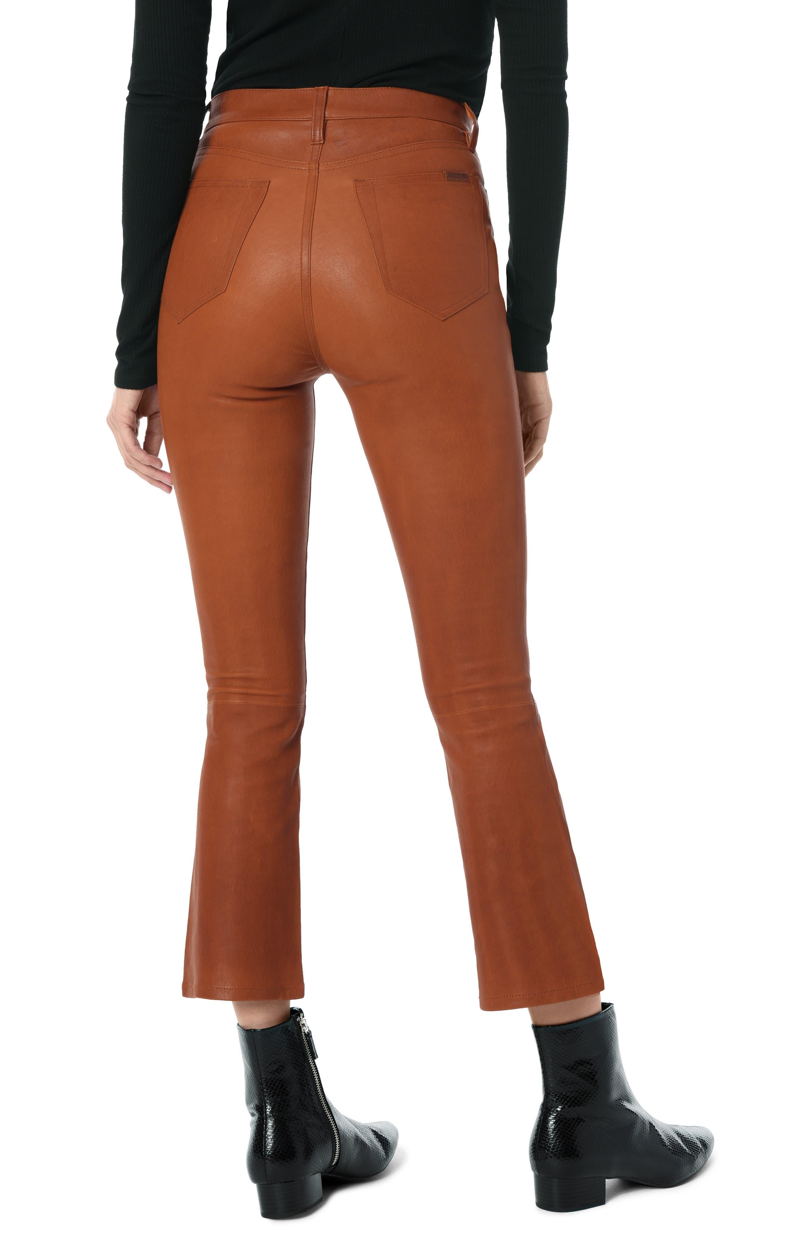 High Waist Crop Bootcut Leather Pants,                             Alternate thumbnail 2, color,                             COGNAC