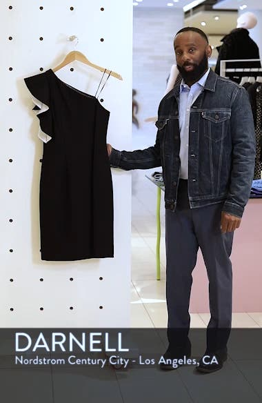 One-Shoulder Contrast Ruffle Cocktail Dress, sales video thumbnail