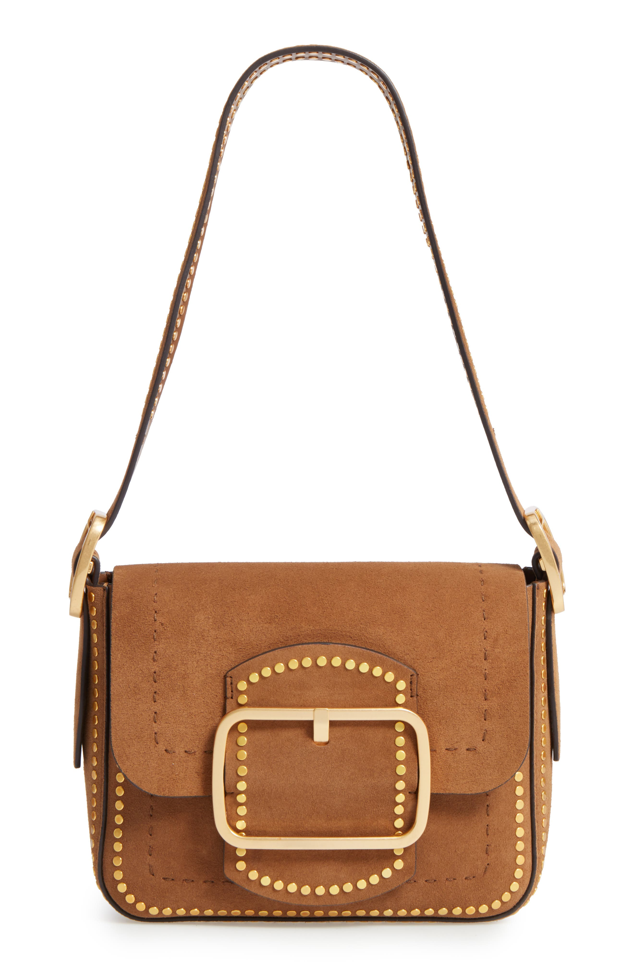 Small Sawyer Stud Suede Shoulder Bag,                             Main thumbnail 1, color,                             238