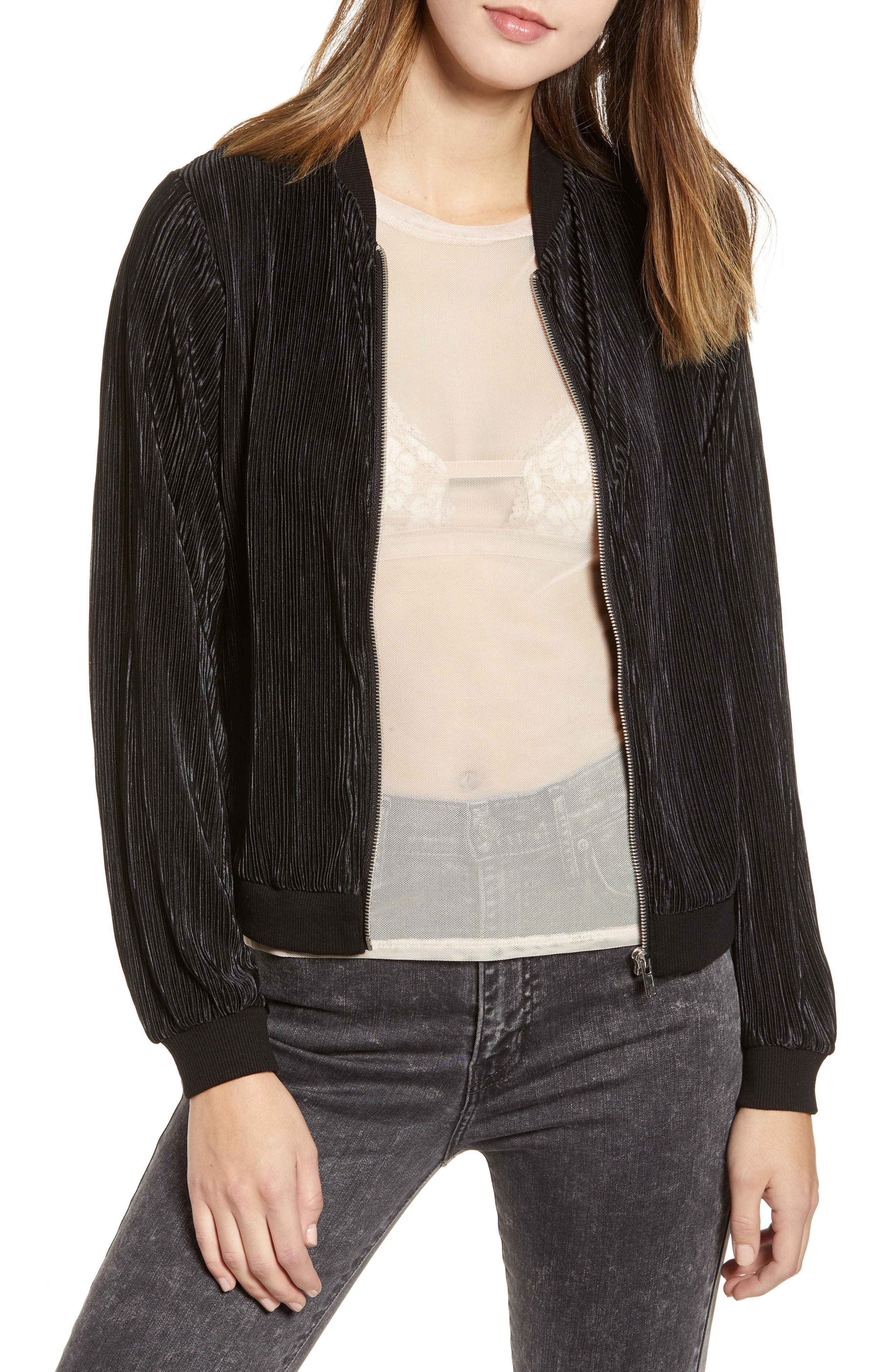 LOVE, FIRE Pleated Bomber Jacket in Black