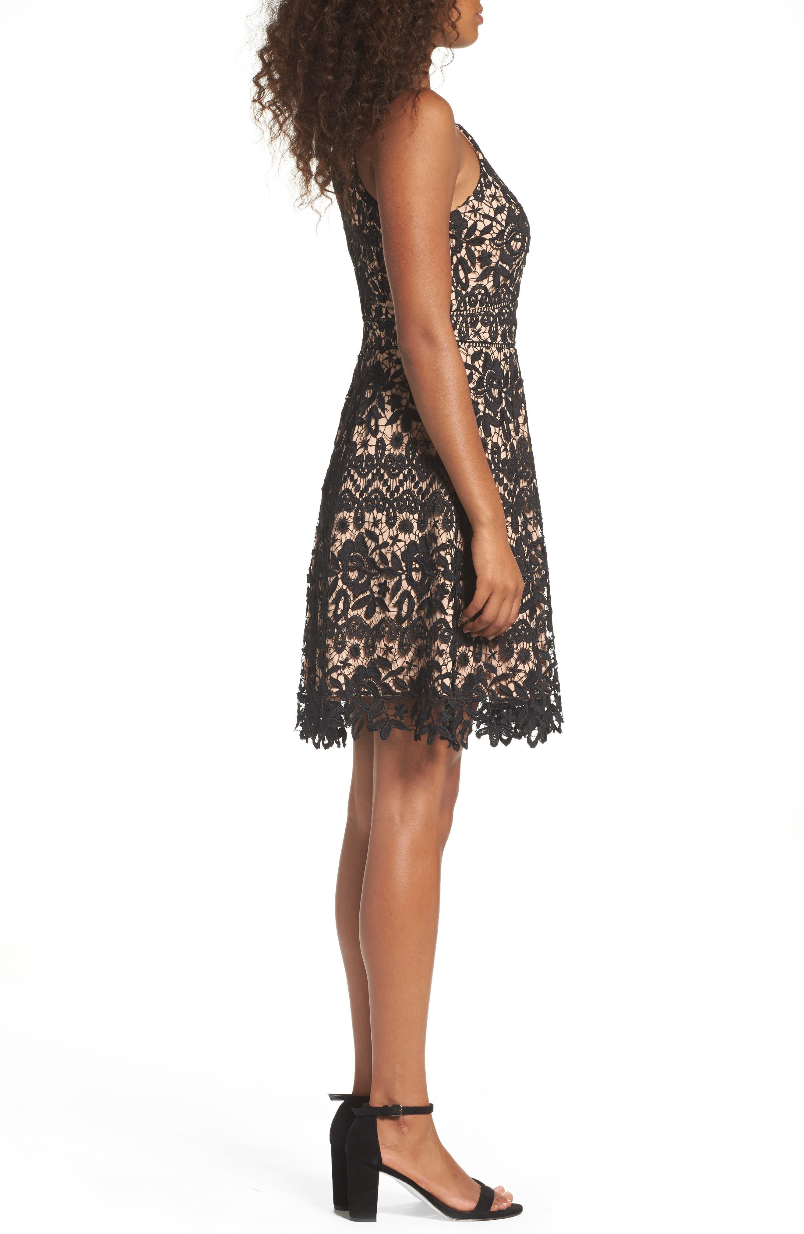 Krista Lace Fit & Flare Dress,                             Alternate thumbnail 3, color,                             001