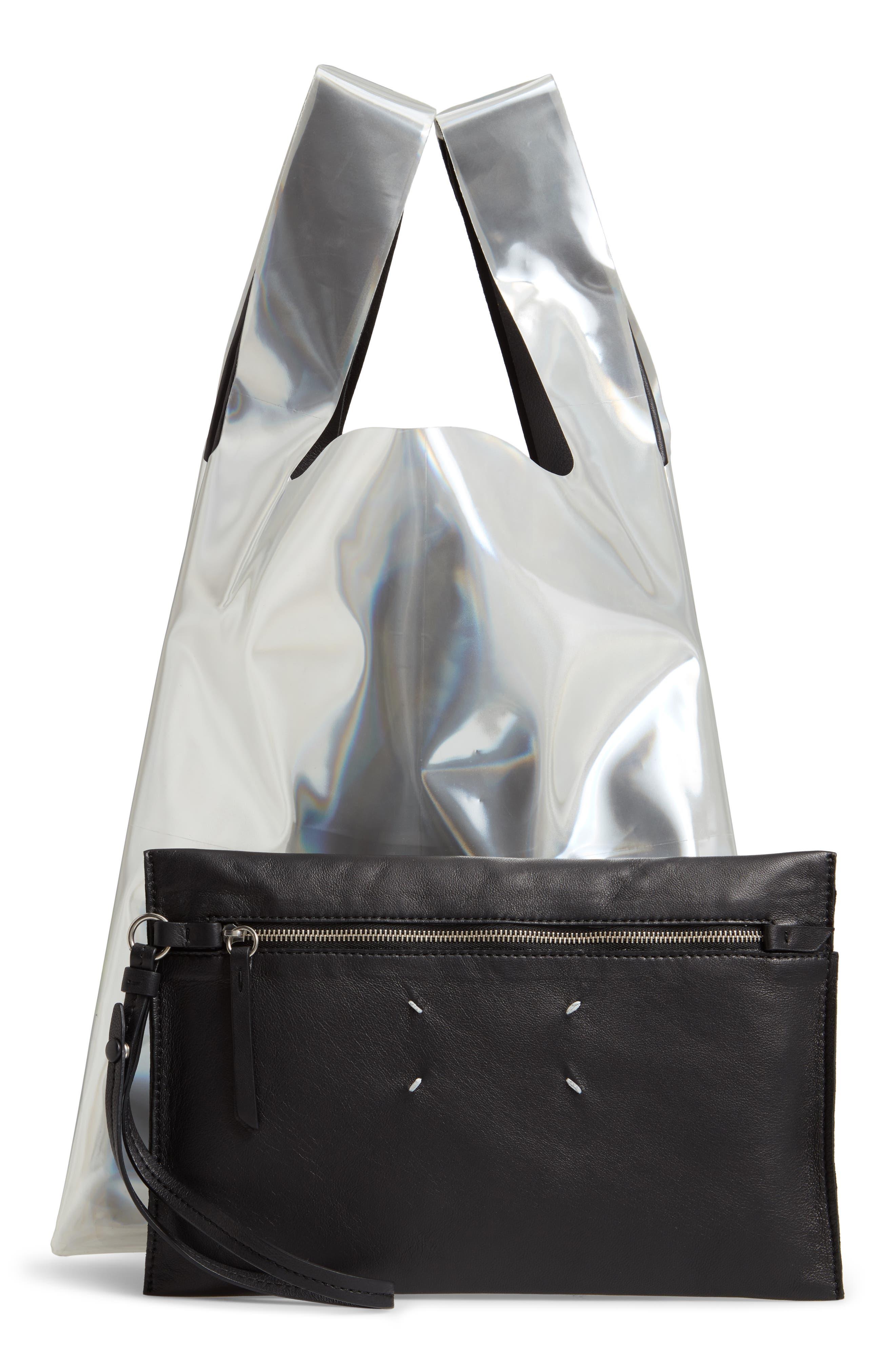 PVC & Leather Shopper Bag,                             Alternate thumbnail 3, color,                             BLACK/ YELLOW FLUO