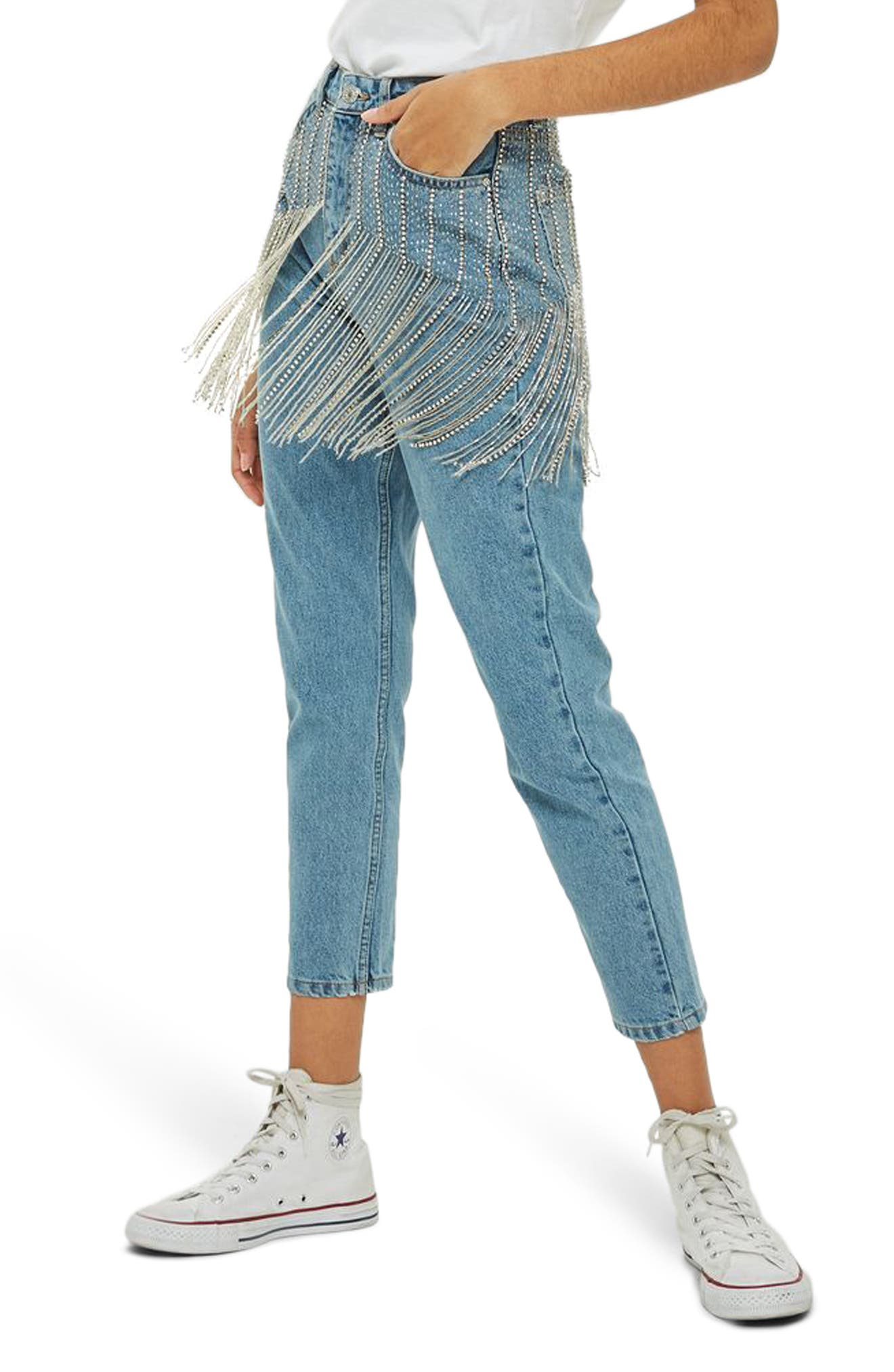Diamante Crystal Fringe Mom Jeans,                             Main thumbnail 1, color,