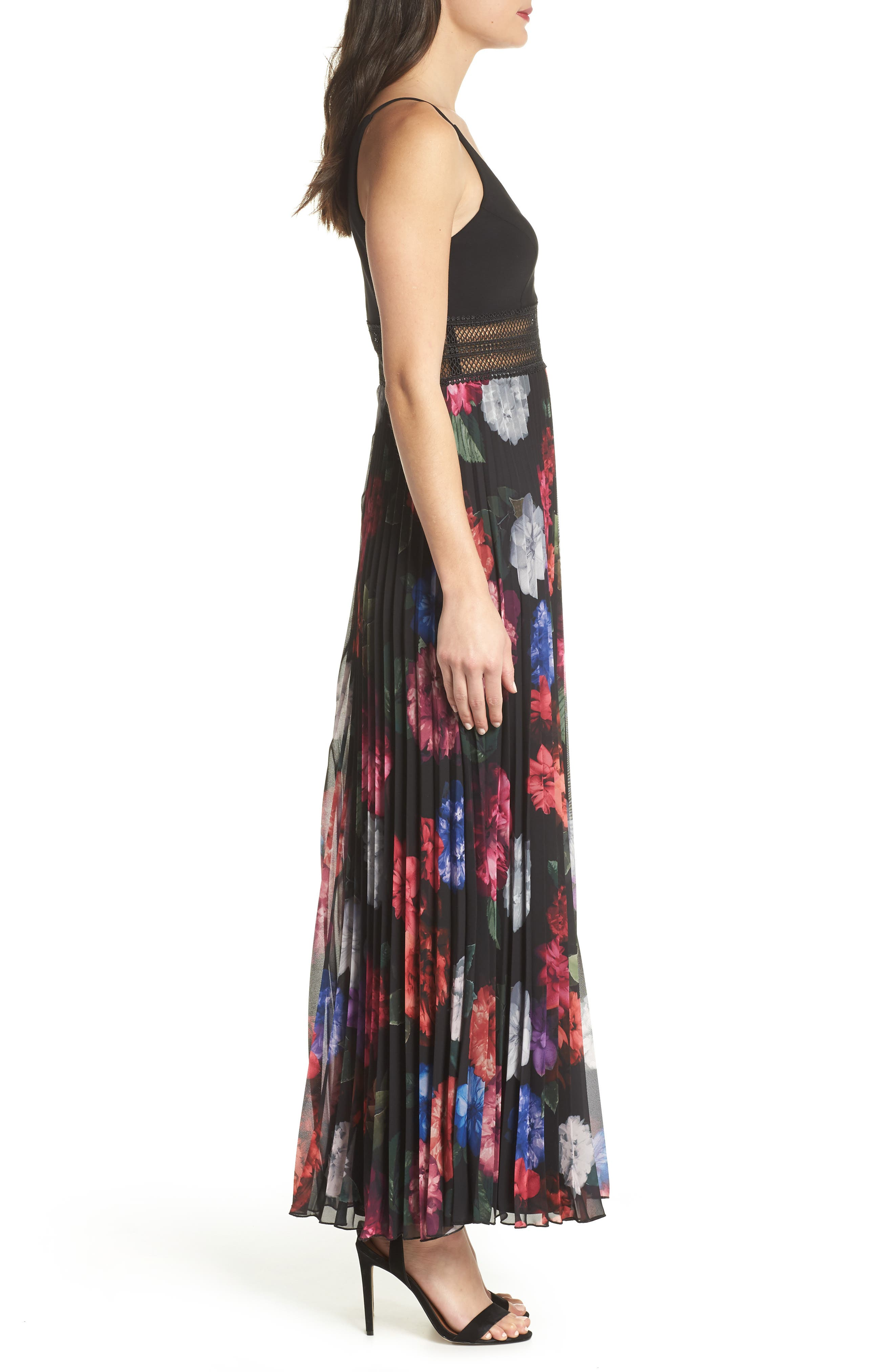 Floral Pleated Gown,                             Alternate thumbnail 6, color,