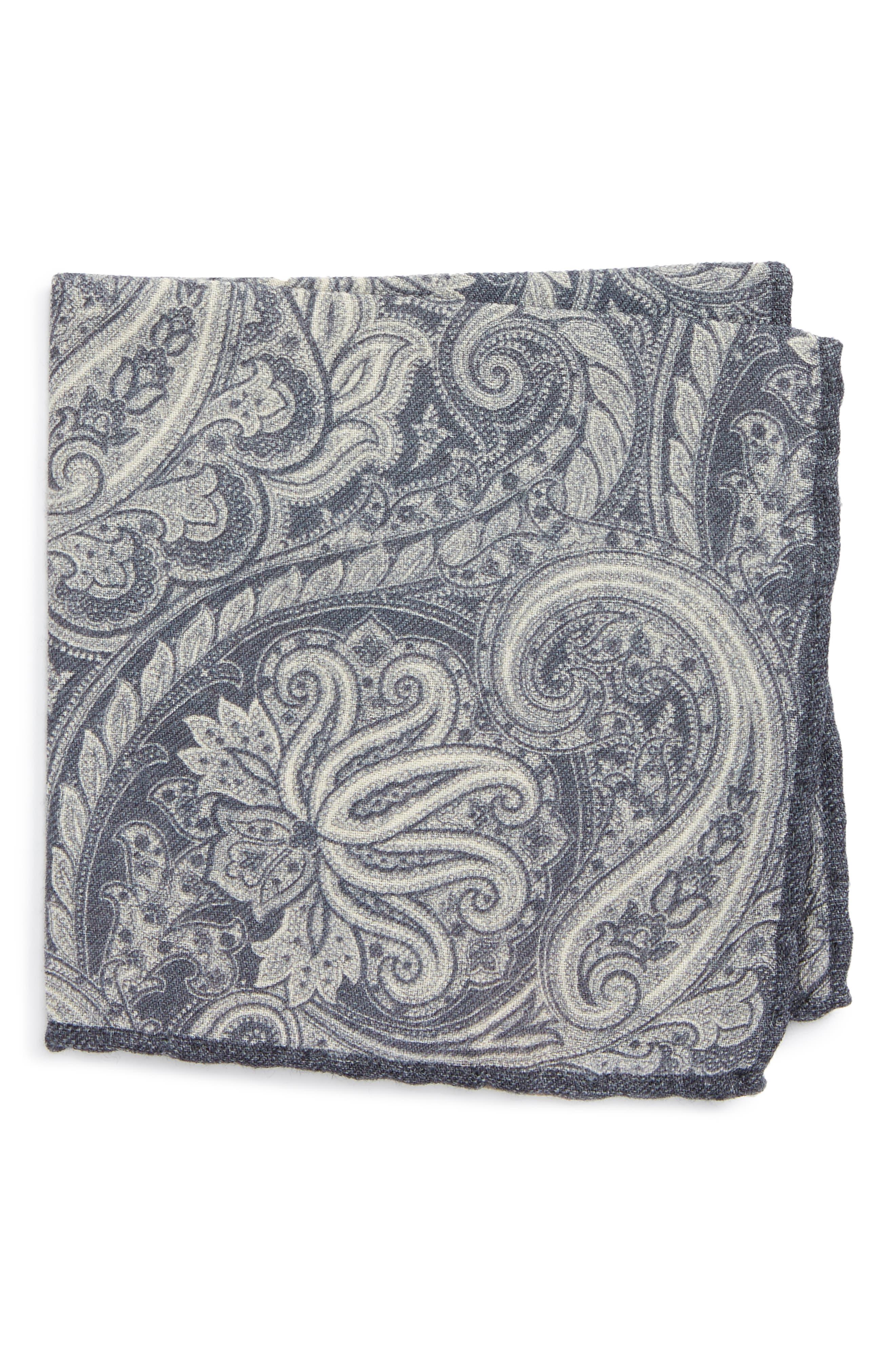 Paisley Wool Pocket Square,                             Main thumbnail 1, color,                             020