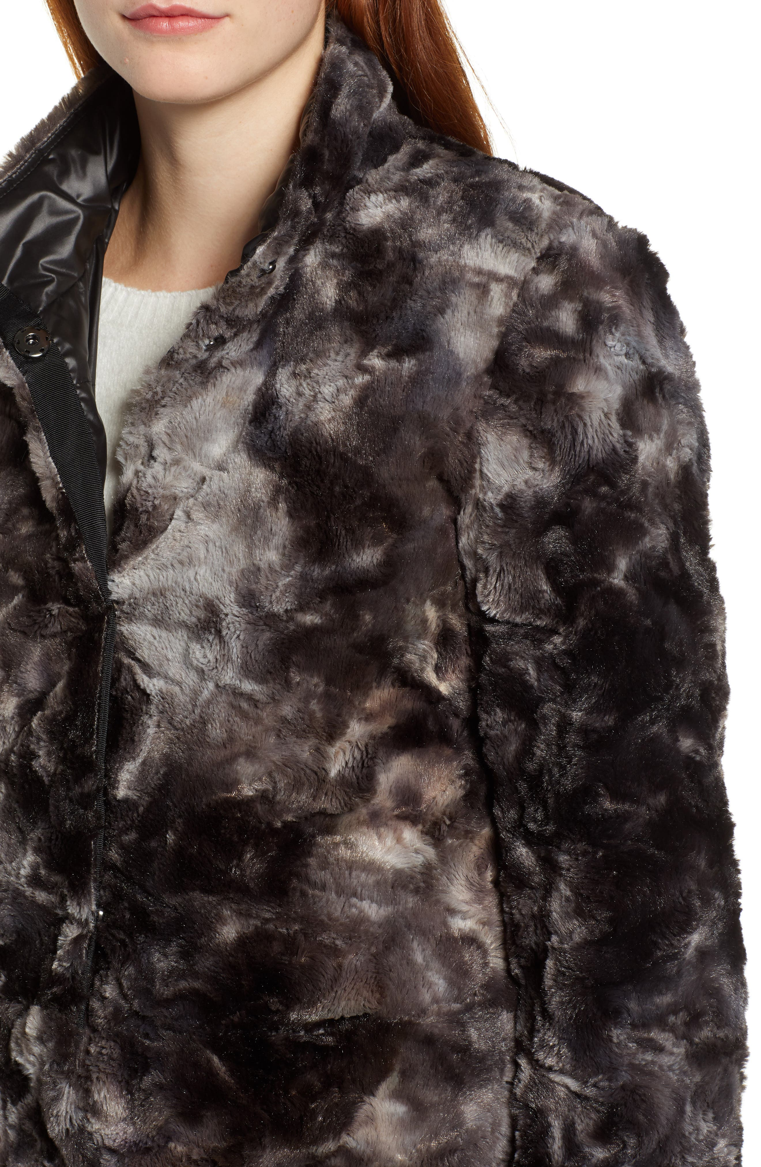 Reversible Faux Leopard Fur Coat,                             Alternate thumbnail 6, color,                             MARLED